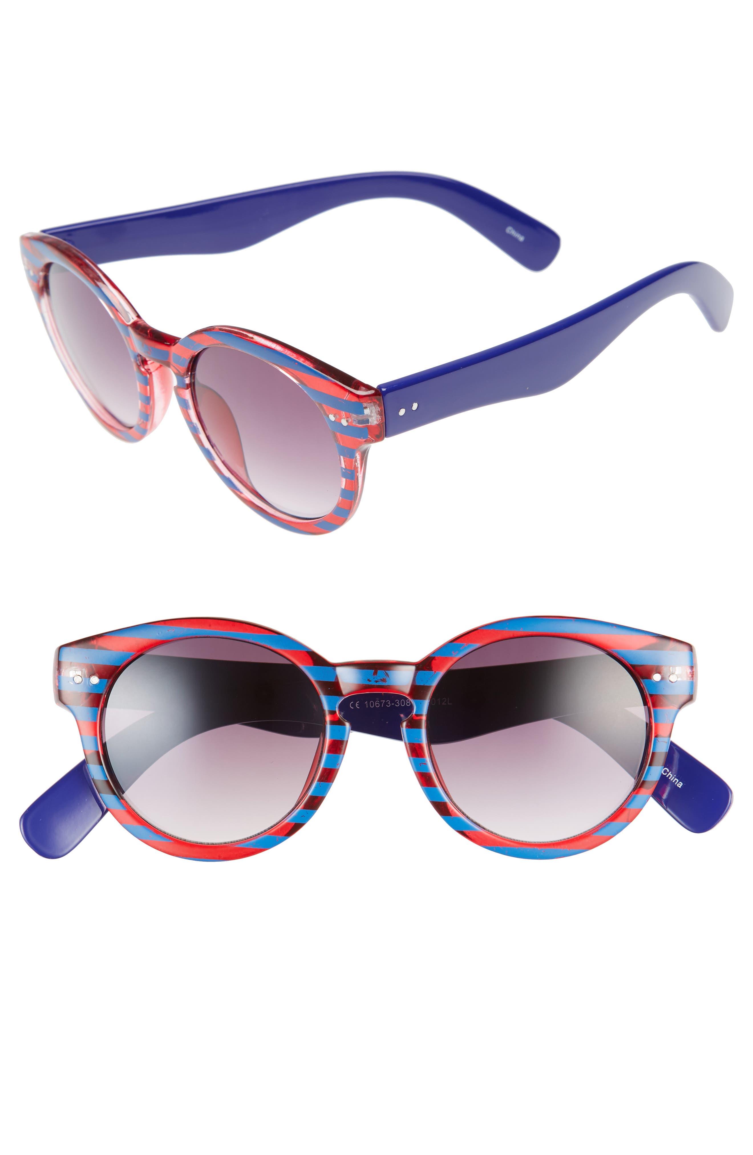 BP. 48mm Stripe Round Sunglasses