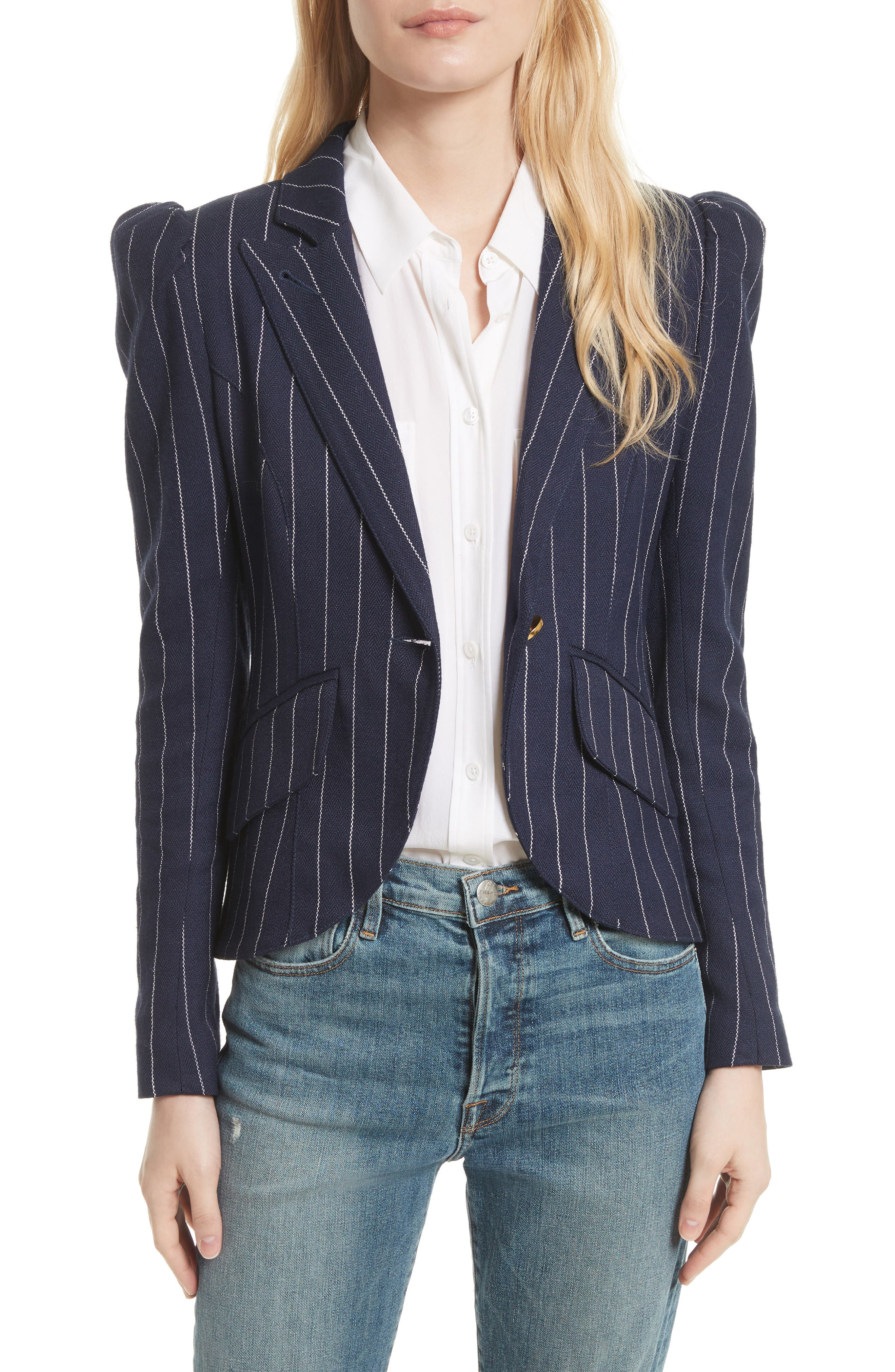 Stripe Puff Sleeve Blazer,                             Main thumbnail 1, color,                             Navy Pinstripe