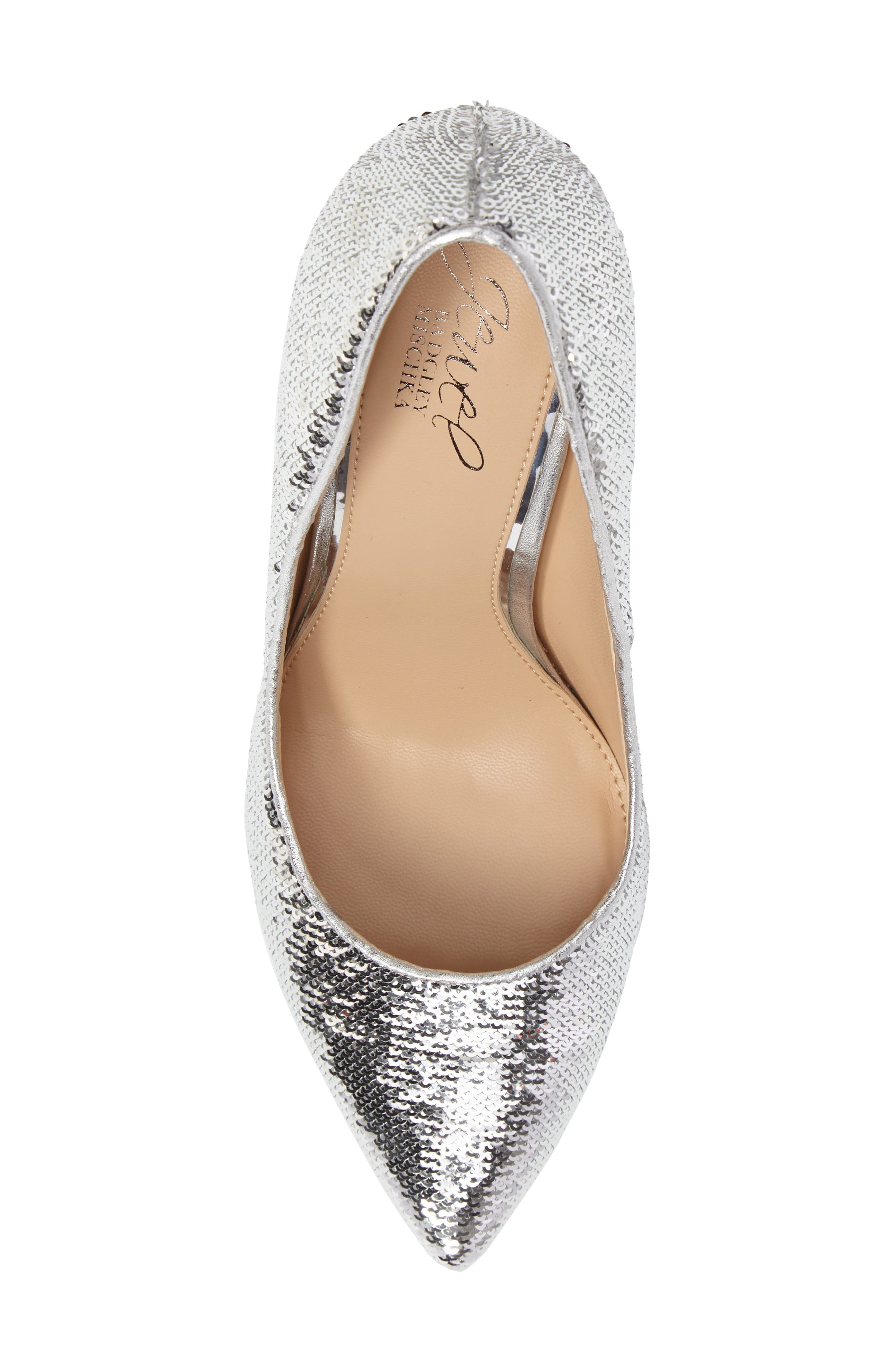 Luxury Pointy Toe Pump,                             Alternate thumbnail 5, color,                             Silver Leather