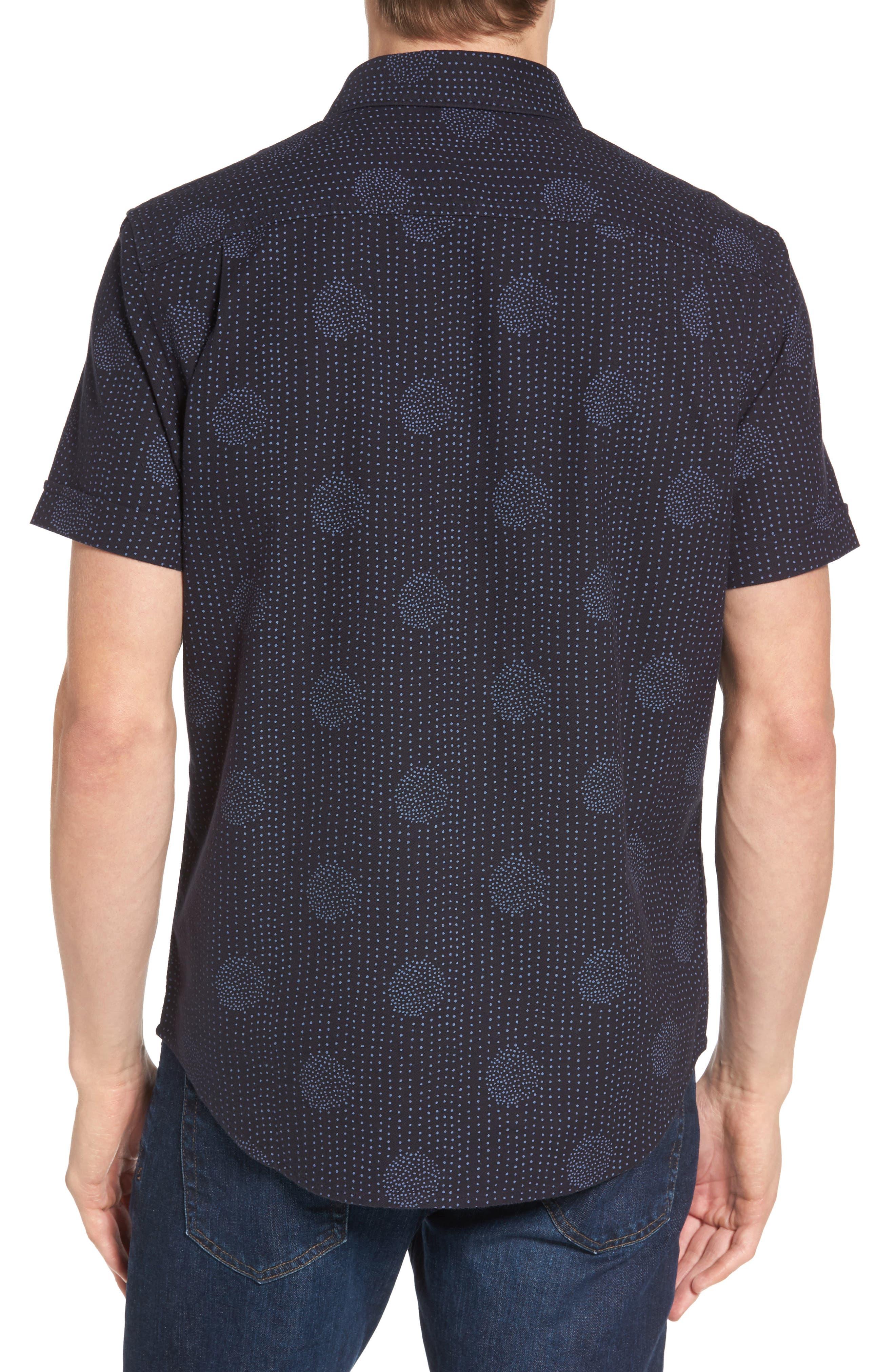 Heritage Slim Fit Dot Print Shirt,                             Alternate thumbnail 2, color,                             Dark Sapphire