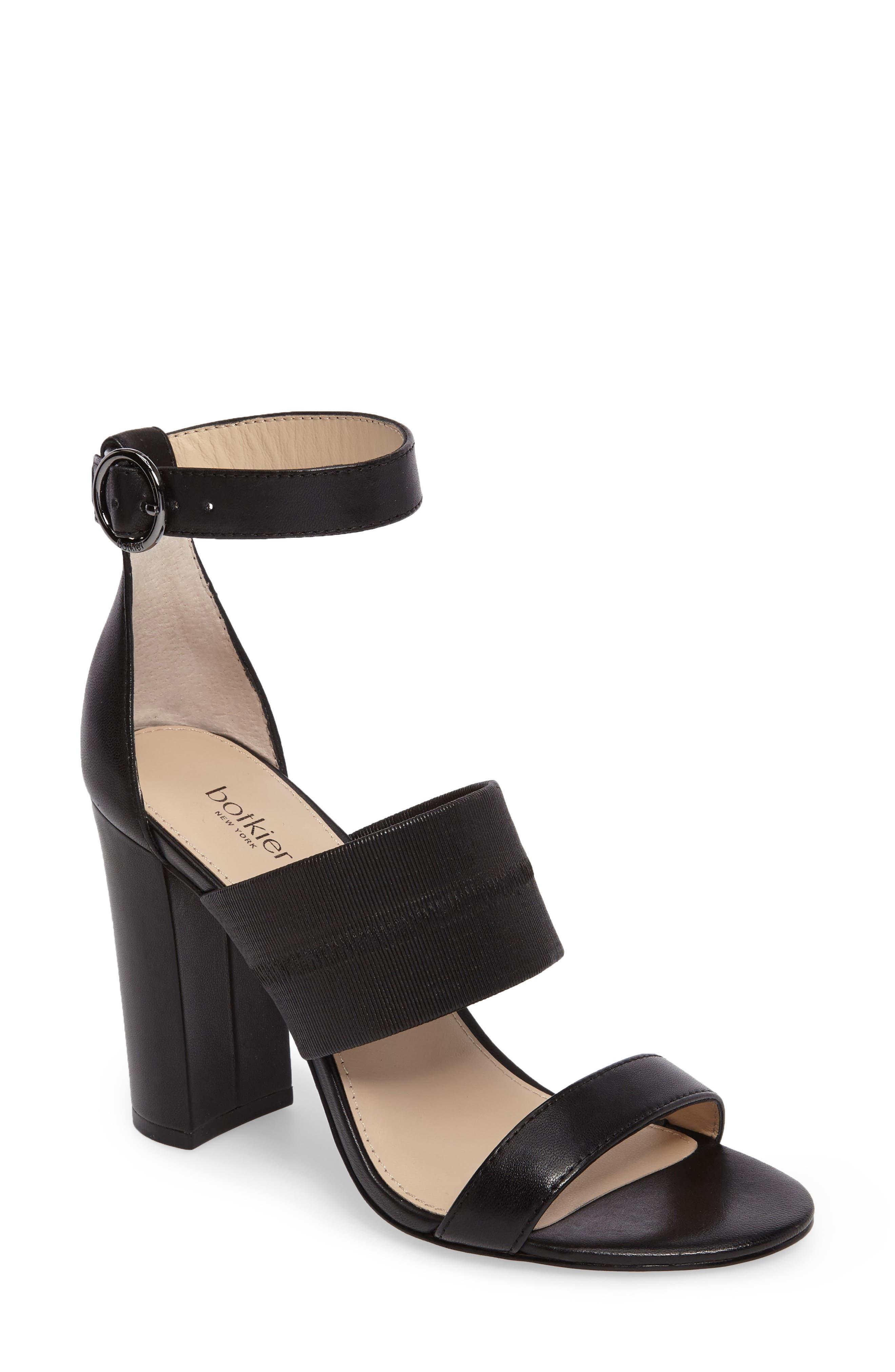 Gisella Ankle Strap Sandal,                             Main thumbnail 1, color,                             Black Leather
