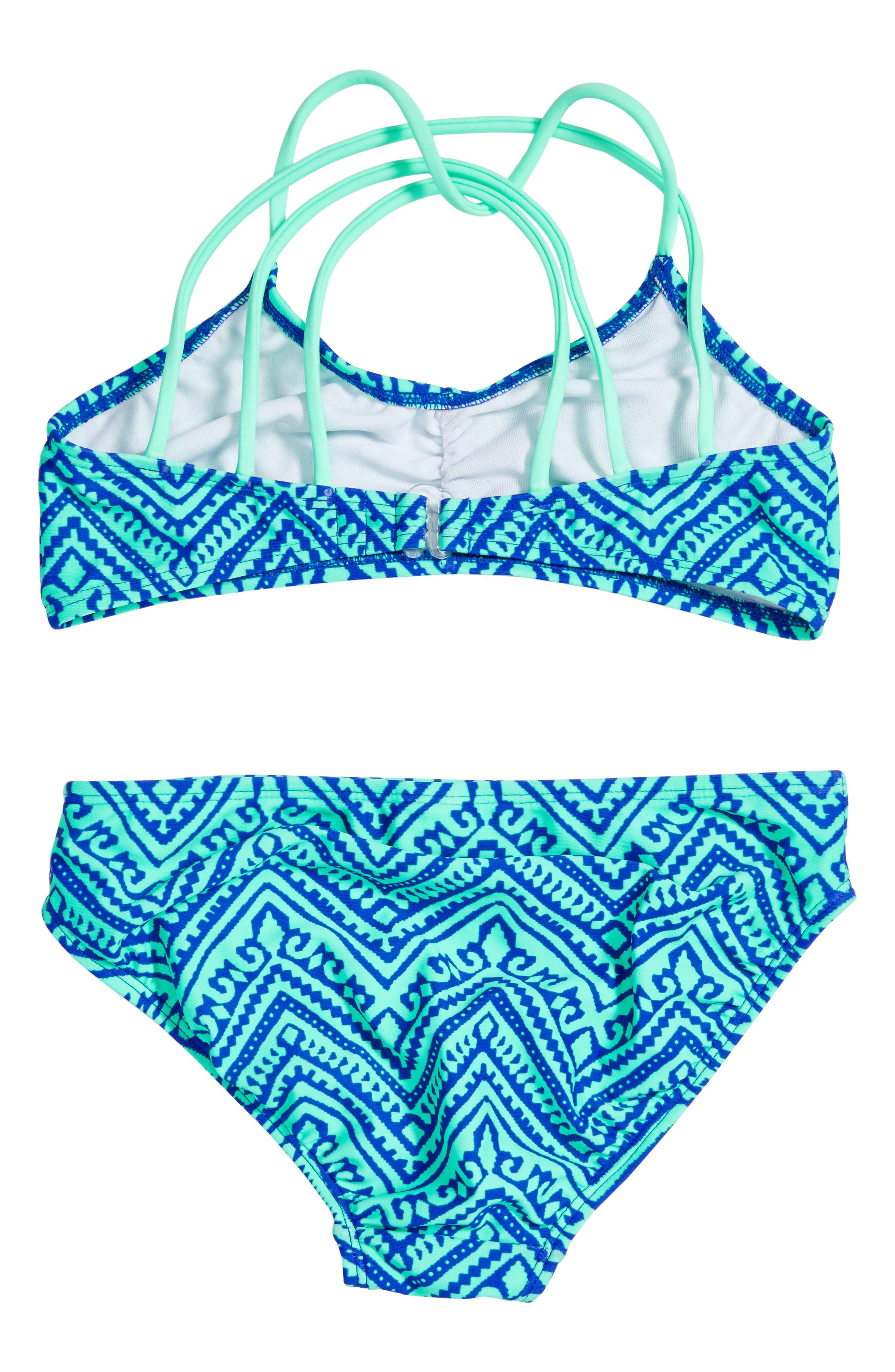 'Zig & Zag' Geo Print Two-Piece Swimsuit,                             Alternate thumbnail 2, color,                             Mint/ Blue Violet