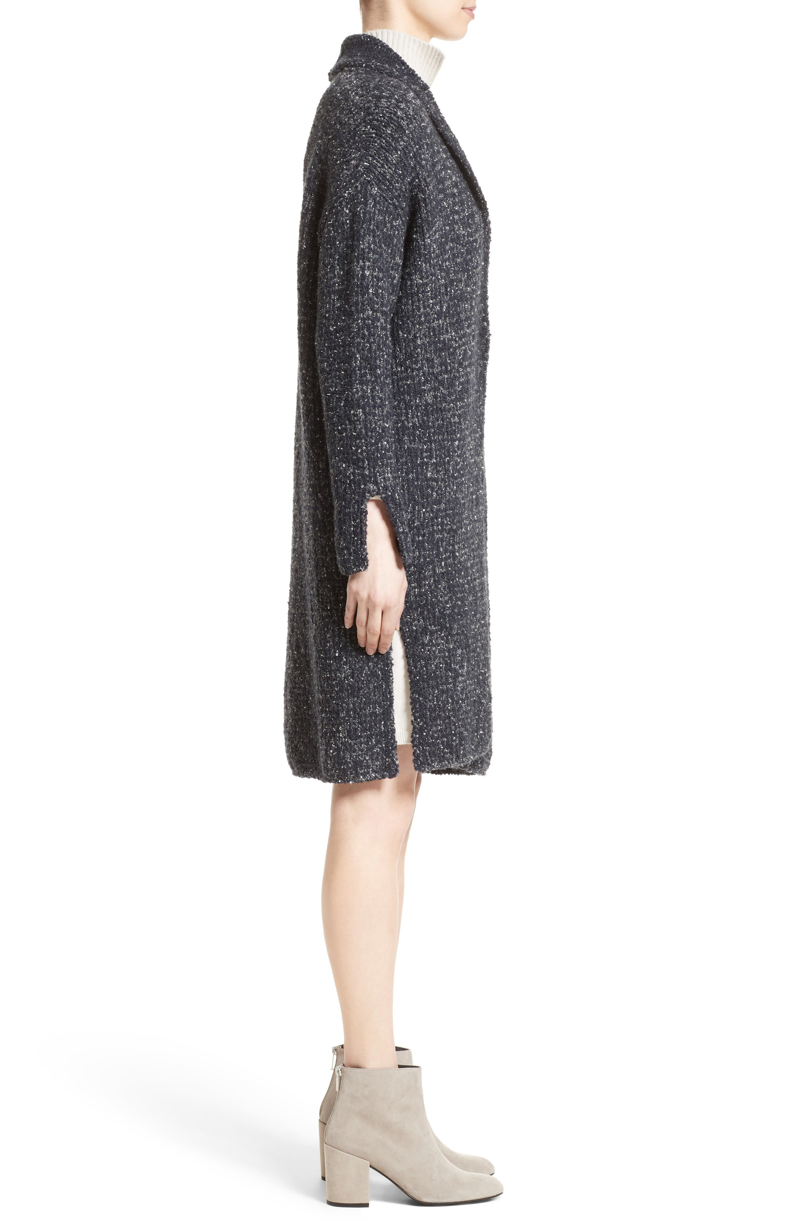 Wool Blend Bouclé Long Cardigan,                             Alternate thumbnail 6, color,                             Grey Multi