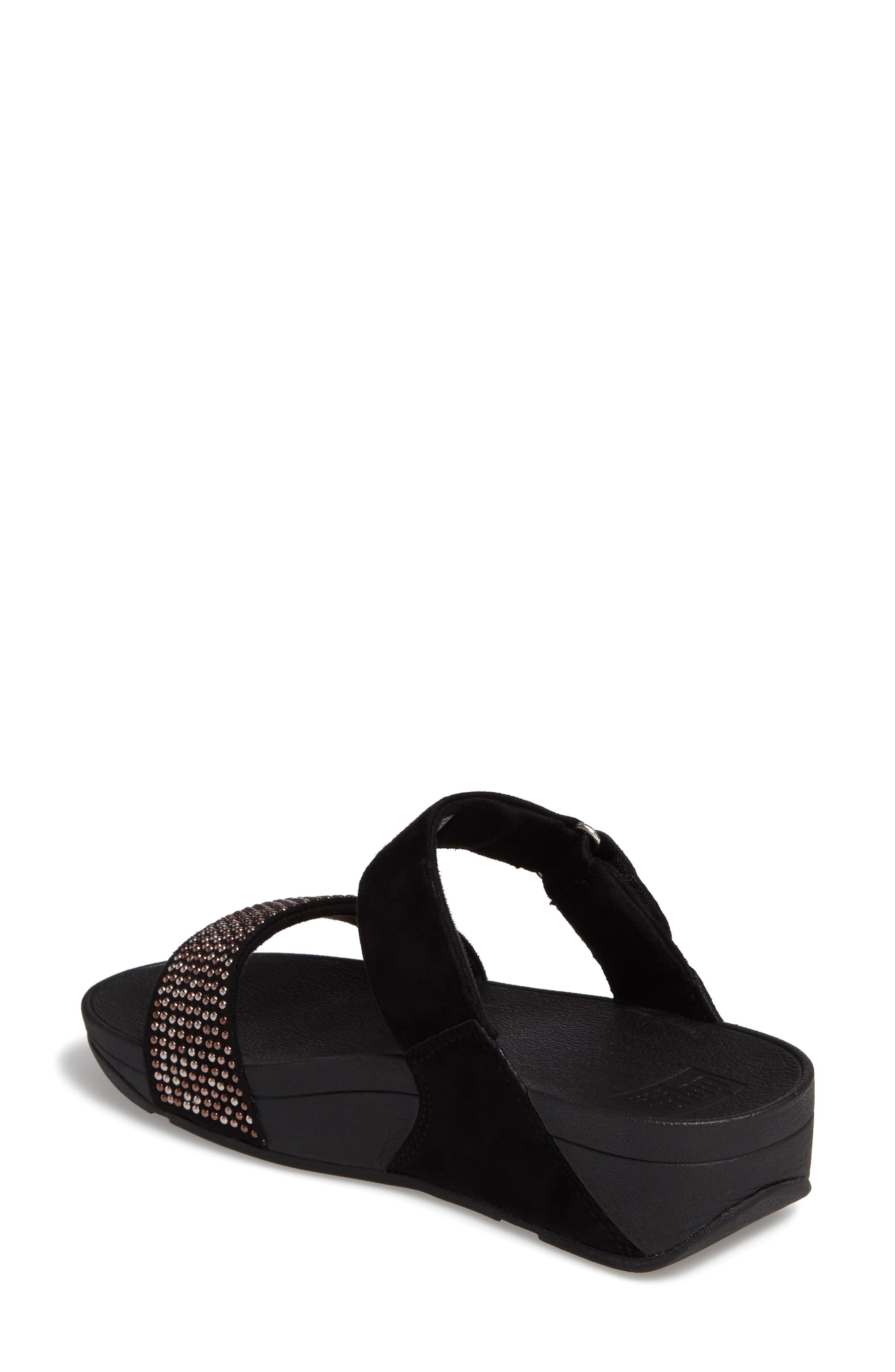 Lulu Popstud Wedge Slide Sandal,                             Alternate thumbnail 2, color,                             Black Fabric