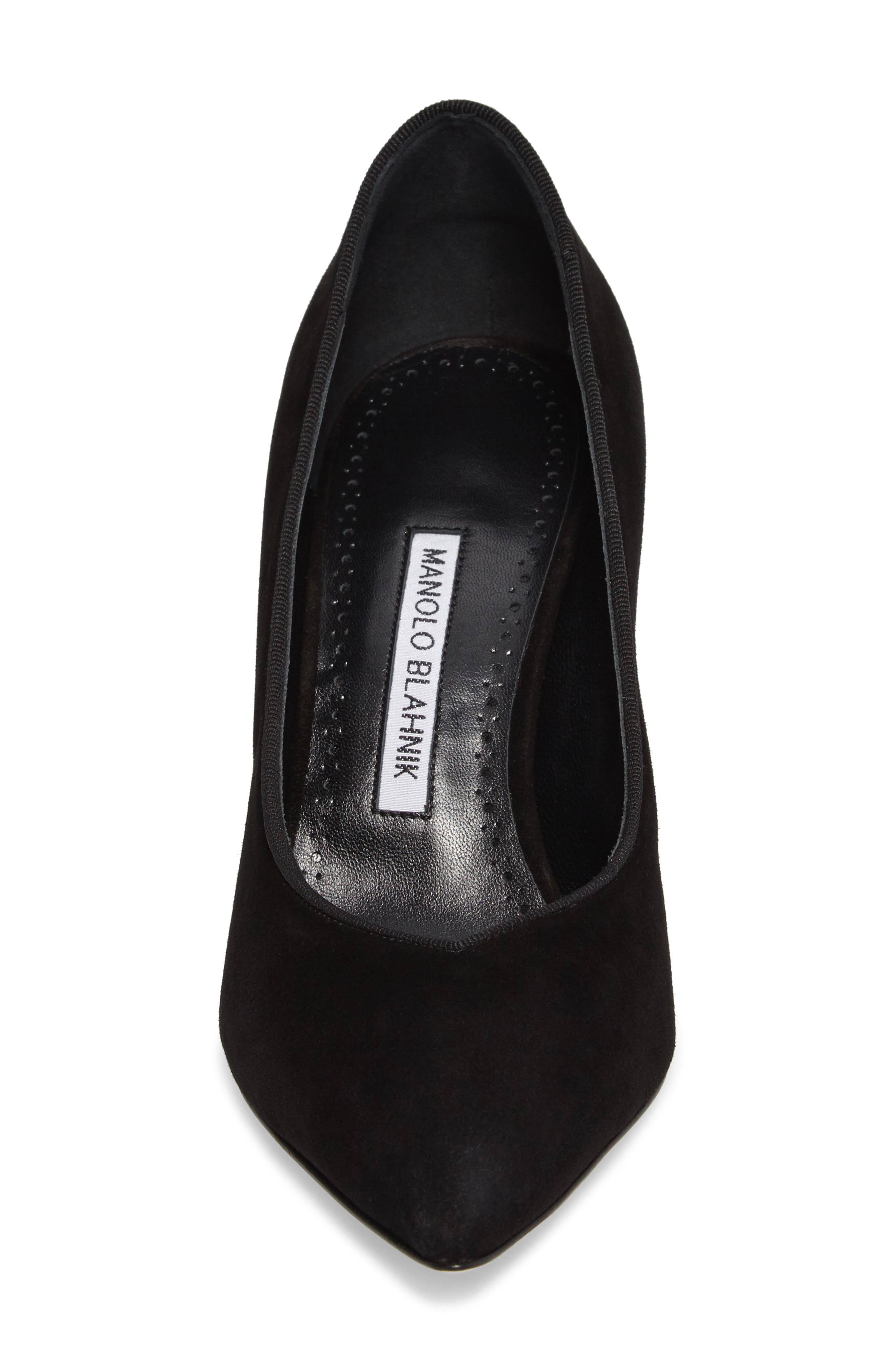 Urgenze Pointy Toe Pump,                             Alternate thumbnail 4, color,                             Black Suede