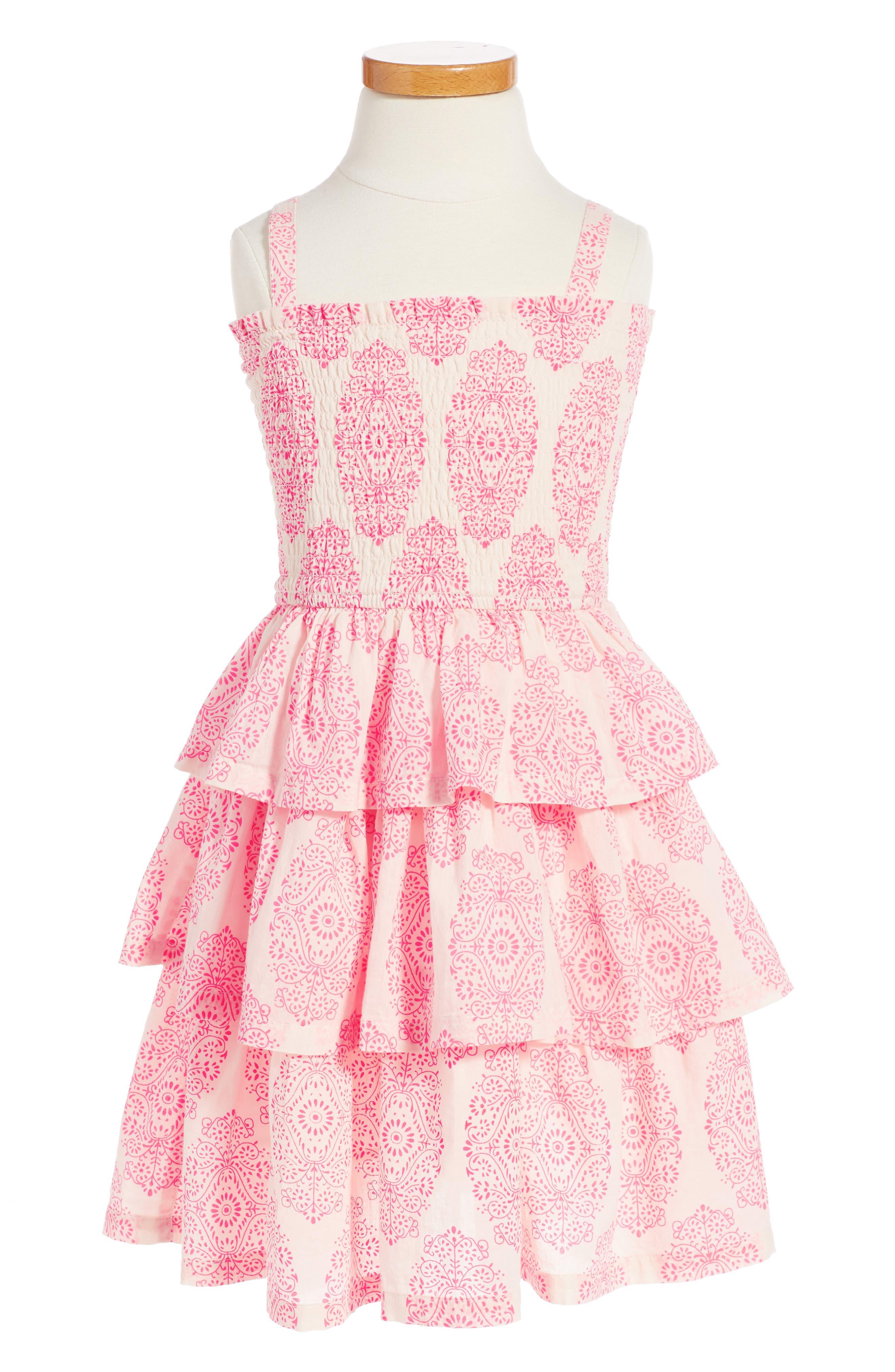 Sadie Print Smocked Sundress,                         Main,                         color, Hot Pink