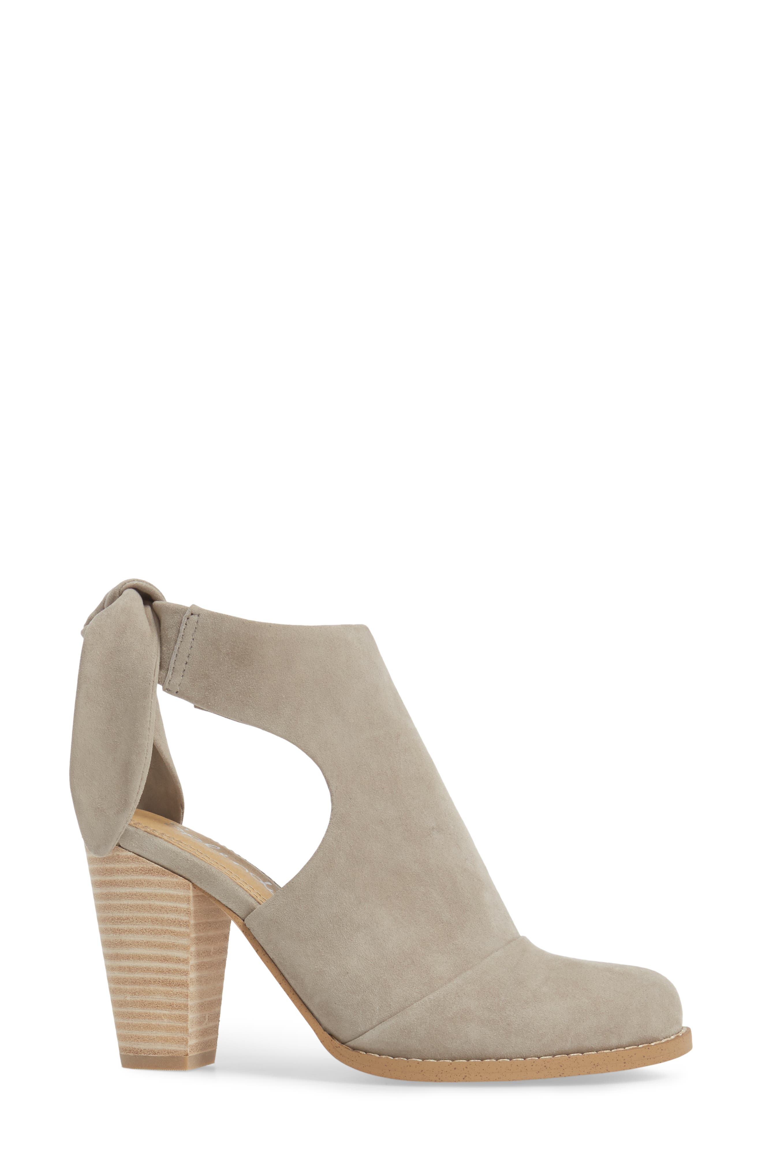 Danae Stacked Heel Bootie,                             Alternate thumbnail 4, color,                             Pearl Grey Suede