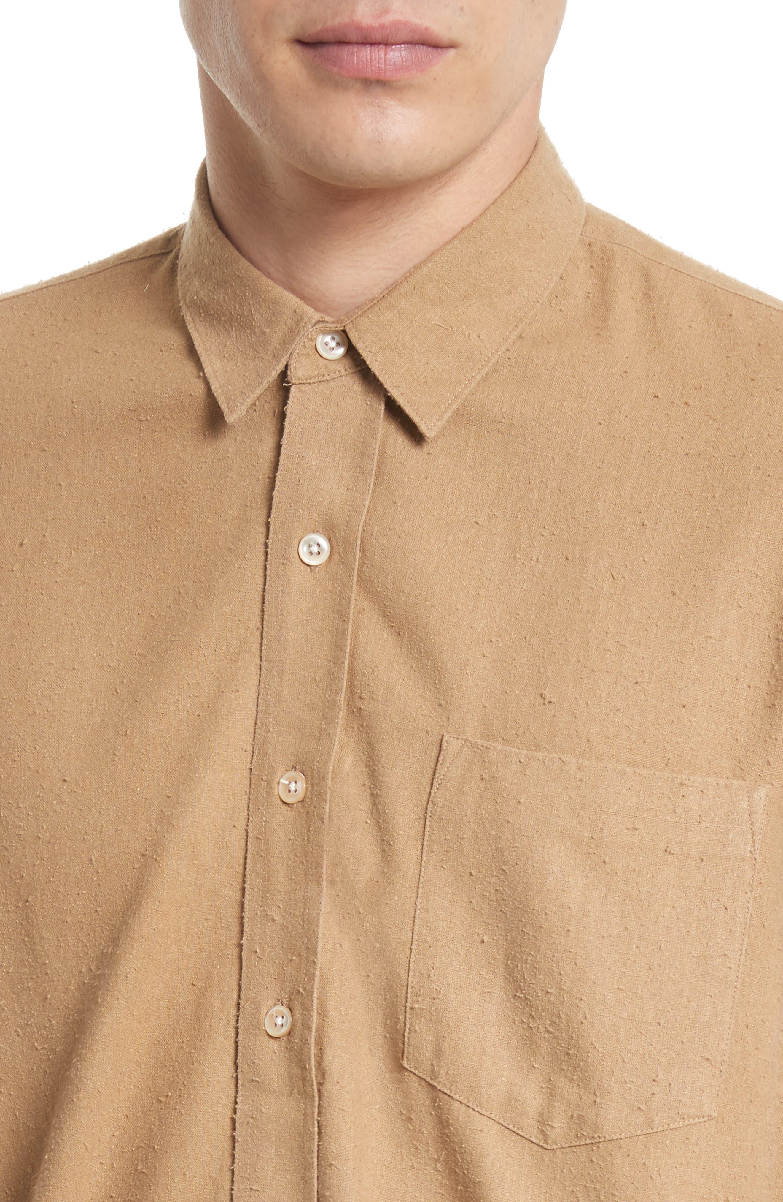 Regular Fit Silk Noil Sport Shirt,                             Alternate thumbnail 4, color,                             Tan
