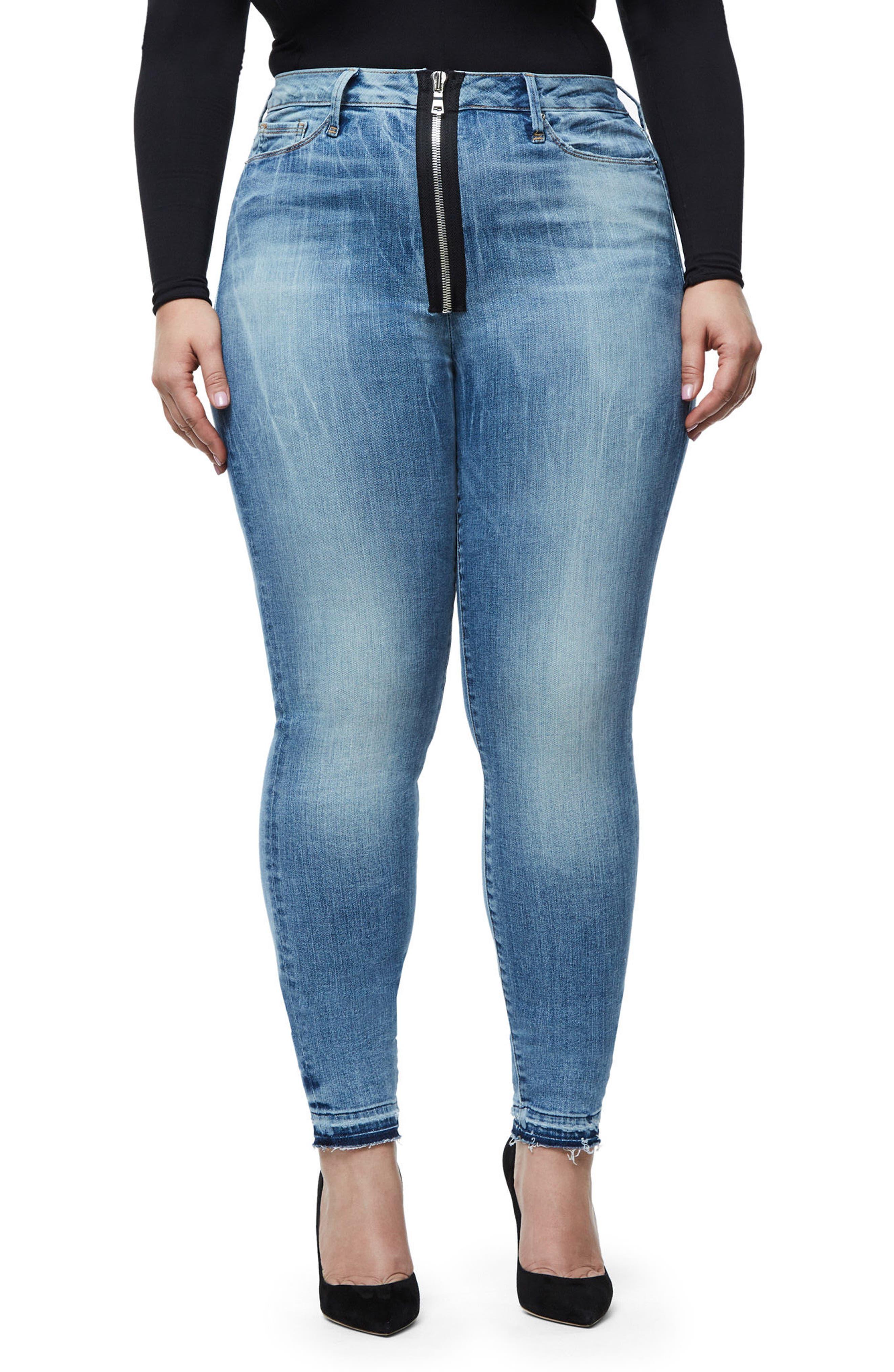 Alternate Image 4  - Good American Good Waist Exposed Zip Skinny Jeans (Blue 075) (Extended Sizes)