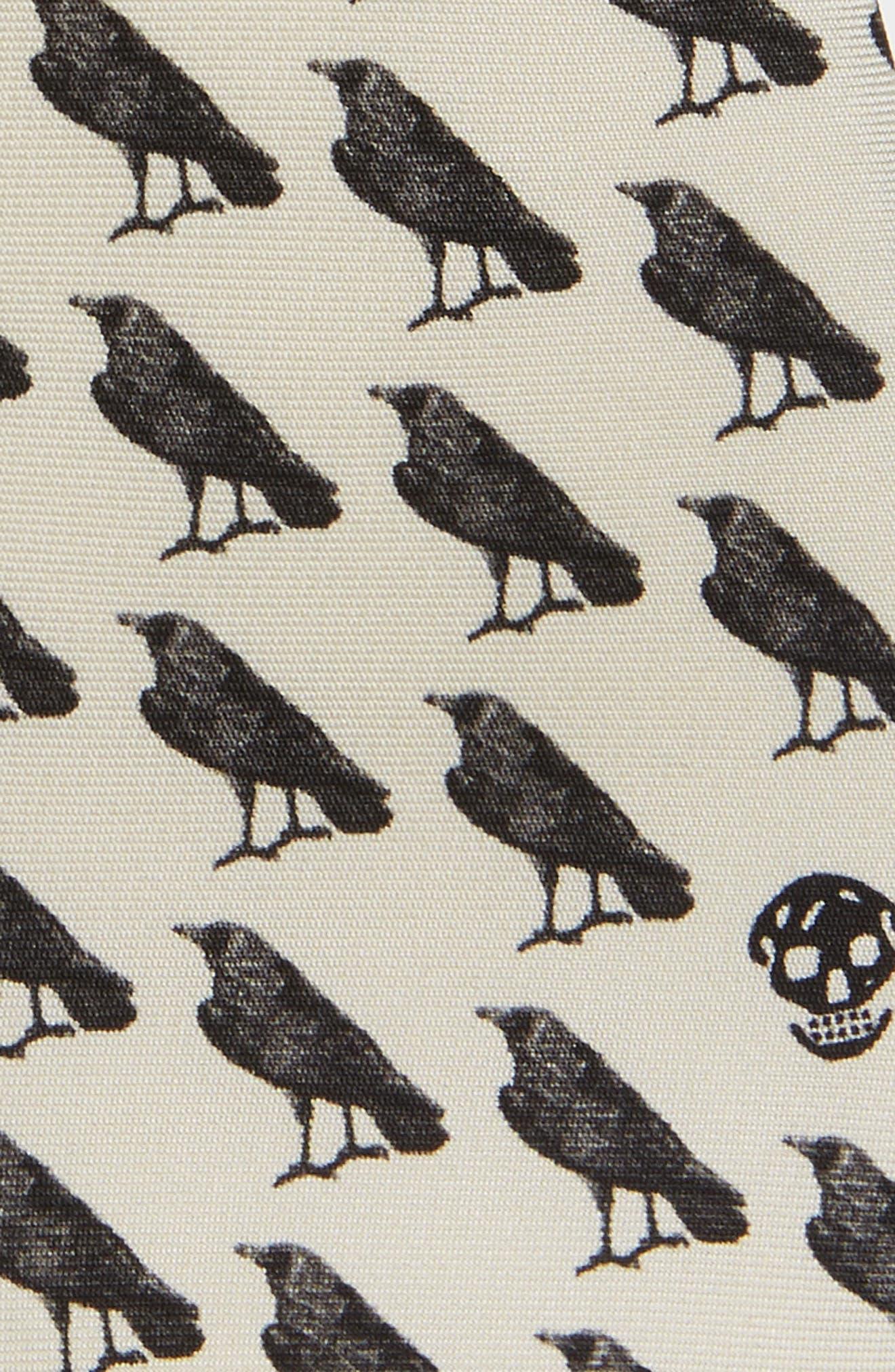 Mini Raven Print Silk Tie,                             Alternate thumbnail 2, color,                             Ivory/ Black