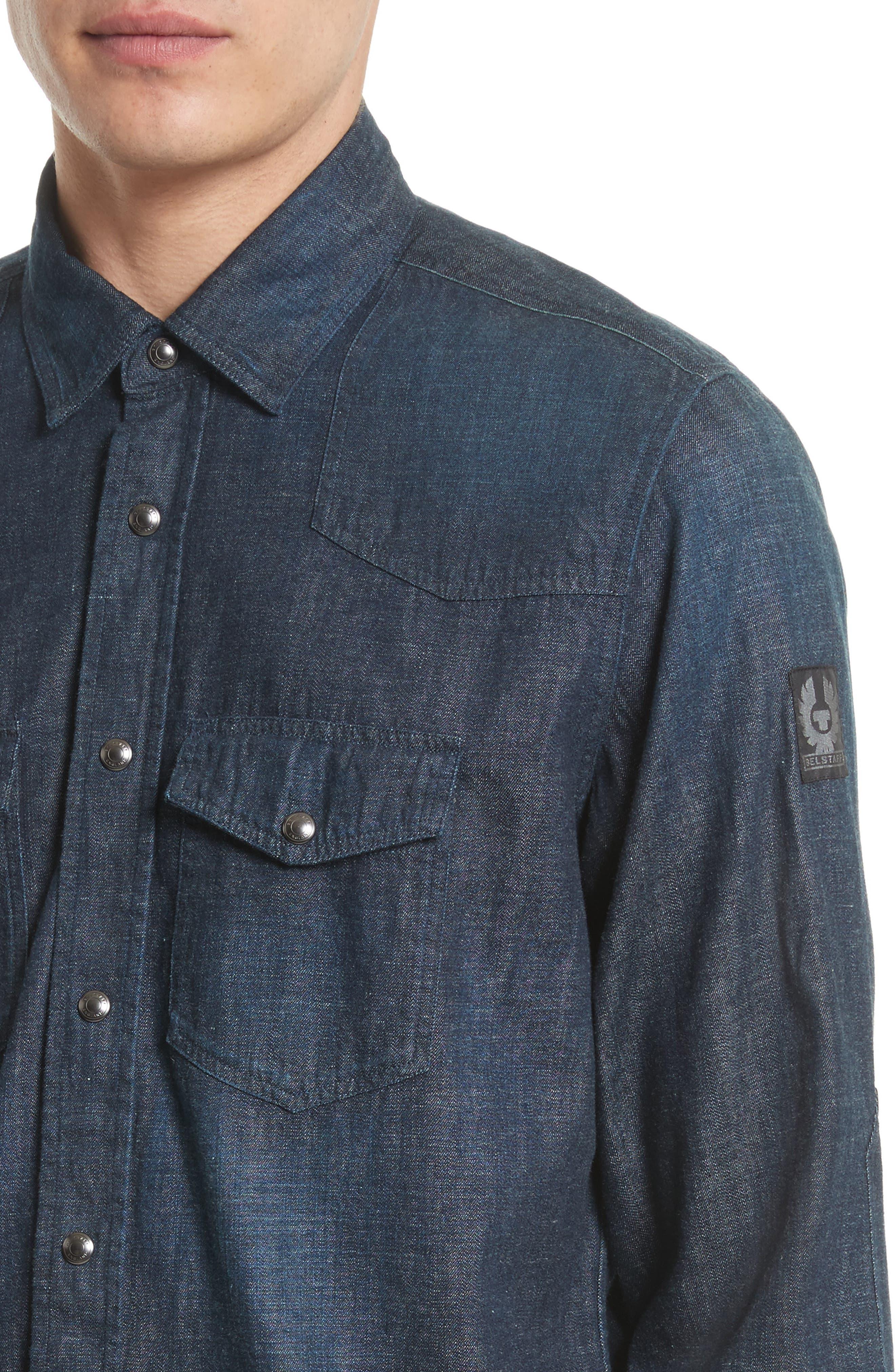 Somerford Denim Sport Shirt,                             Alternate thumbnail 4, color,                             Dark Blue
