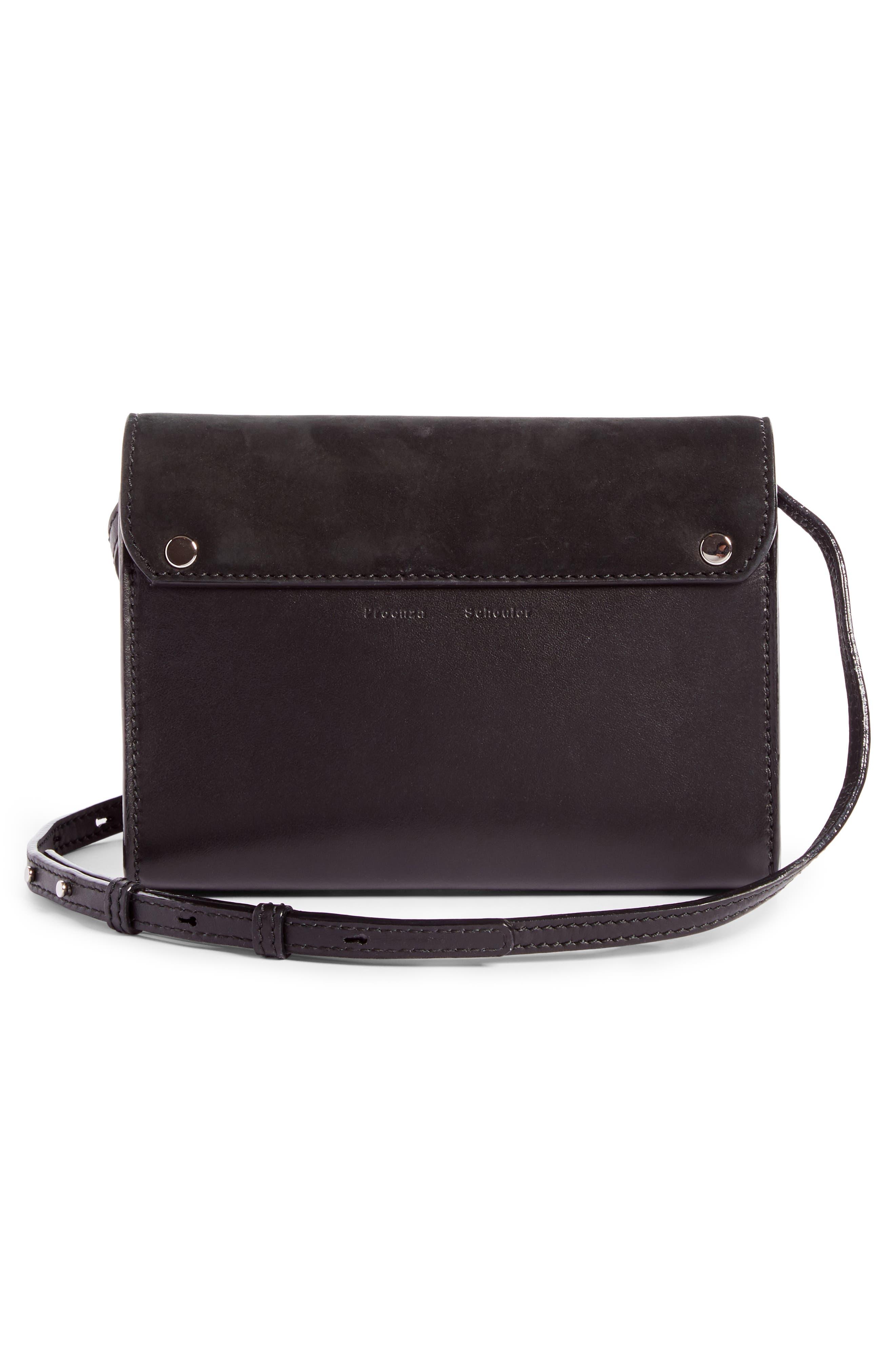 PS11 Calfskin Leather Crossbody Wallet,                             Alternate thumbnail 3, color,                             Black