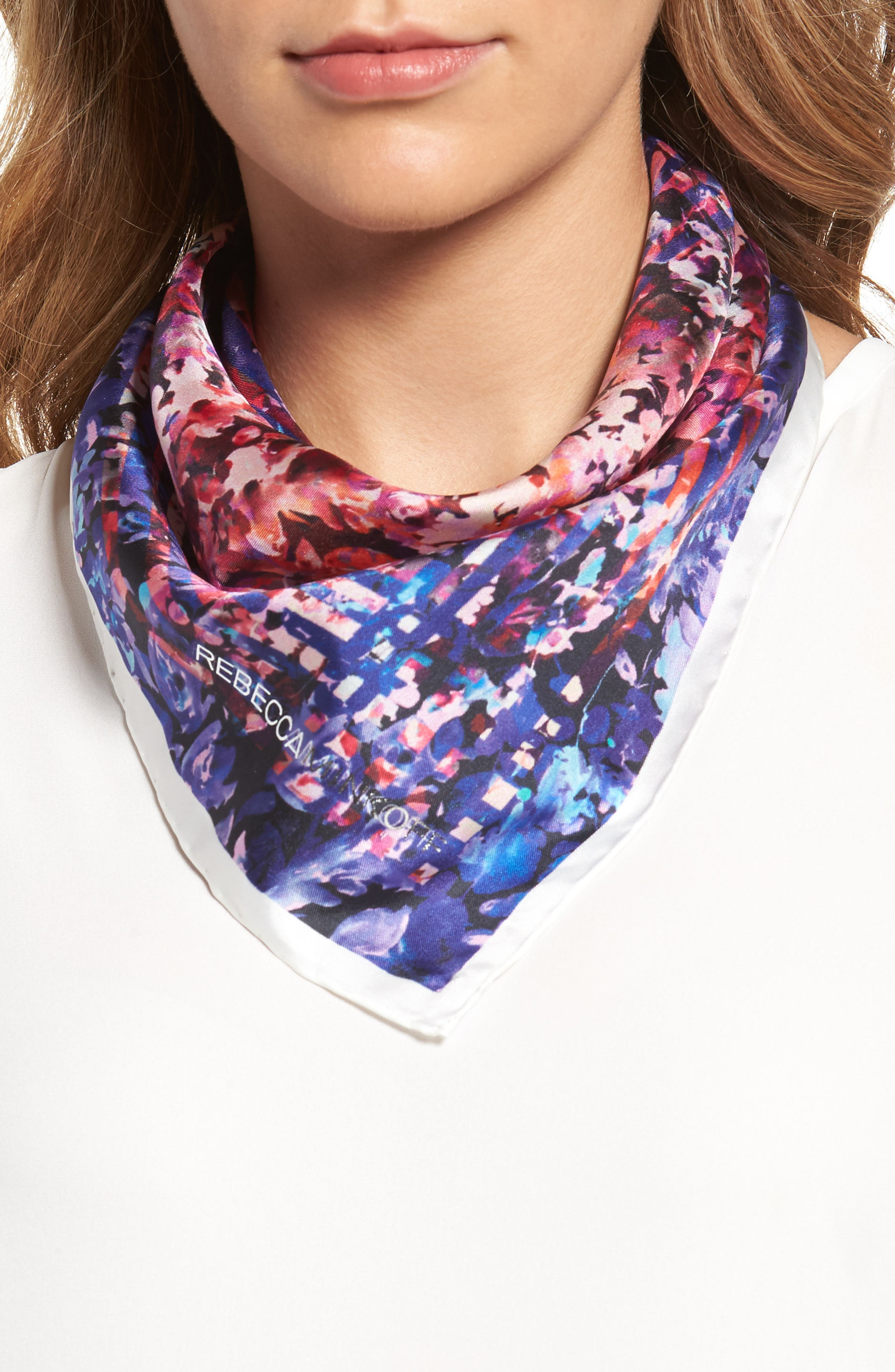 Alternate Image 1 Selected - Rebecca Minkoff Painted Floral Silk Bandana