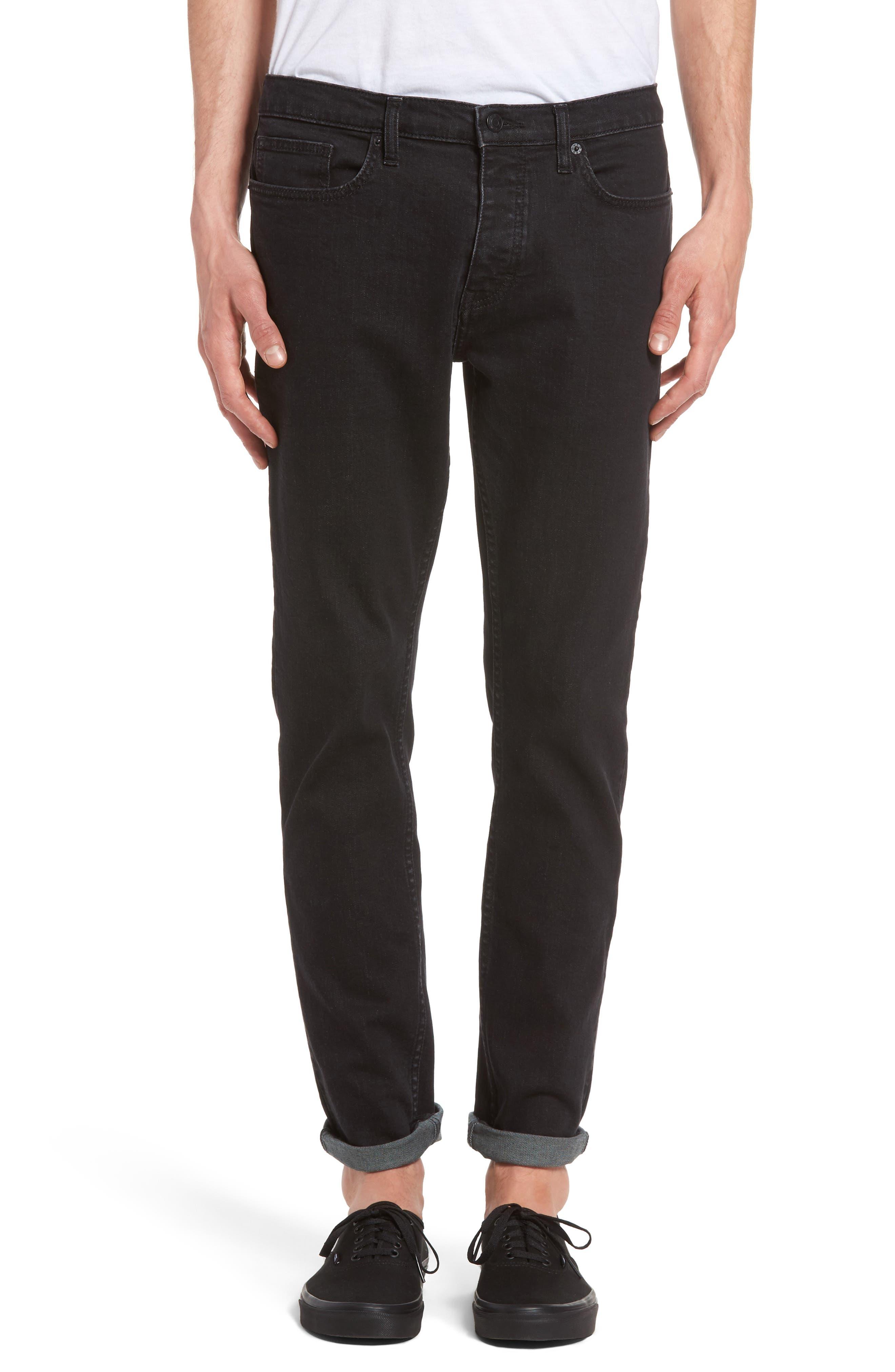 Washed Slim Fit Jeans,                         Main,                         color, Black