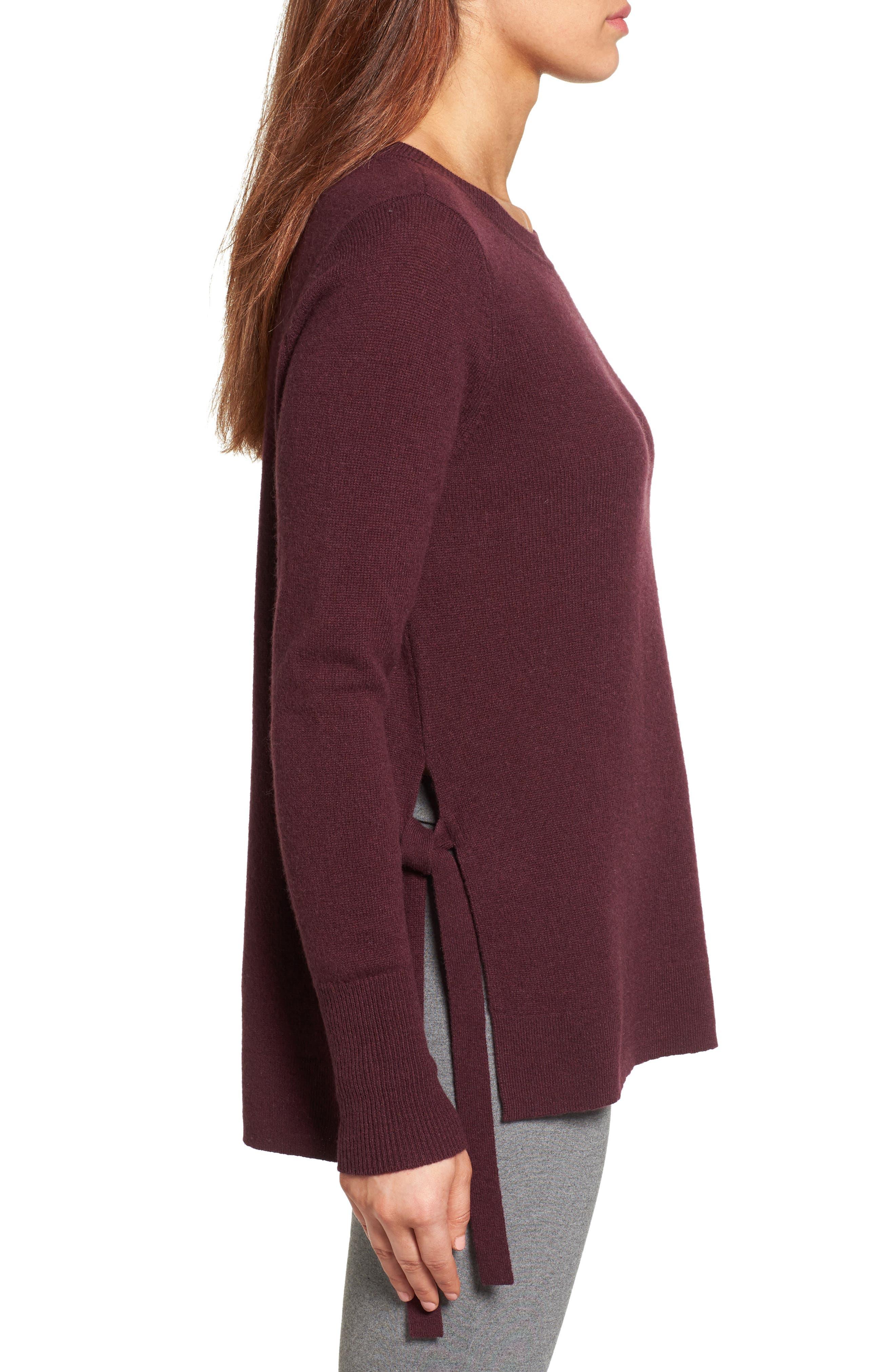 Alternate Image 3  - Halogen® Side Tie Cashmere Sweater (Regular & Petite)