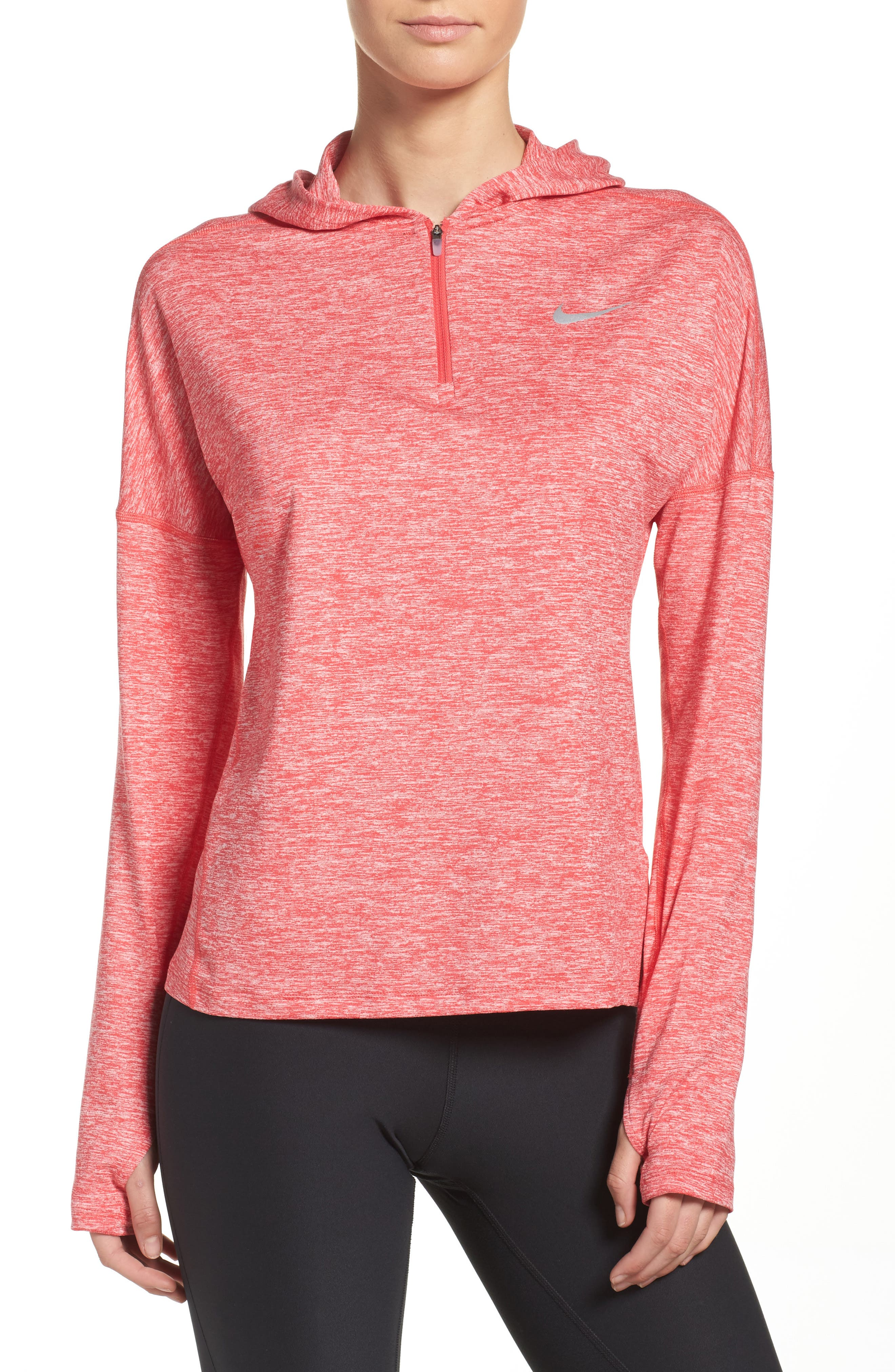 Dry Element Running Hoodie,                             Main thumbnail 1, color,                             Light Fusion Red/ Heather