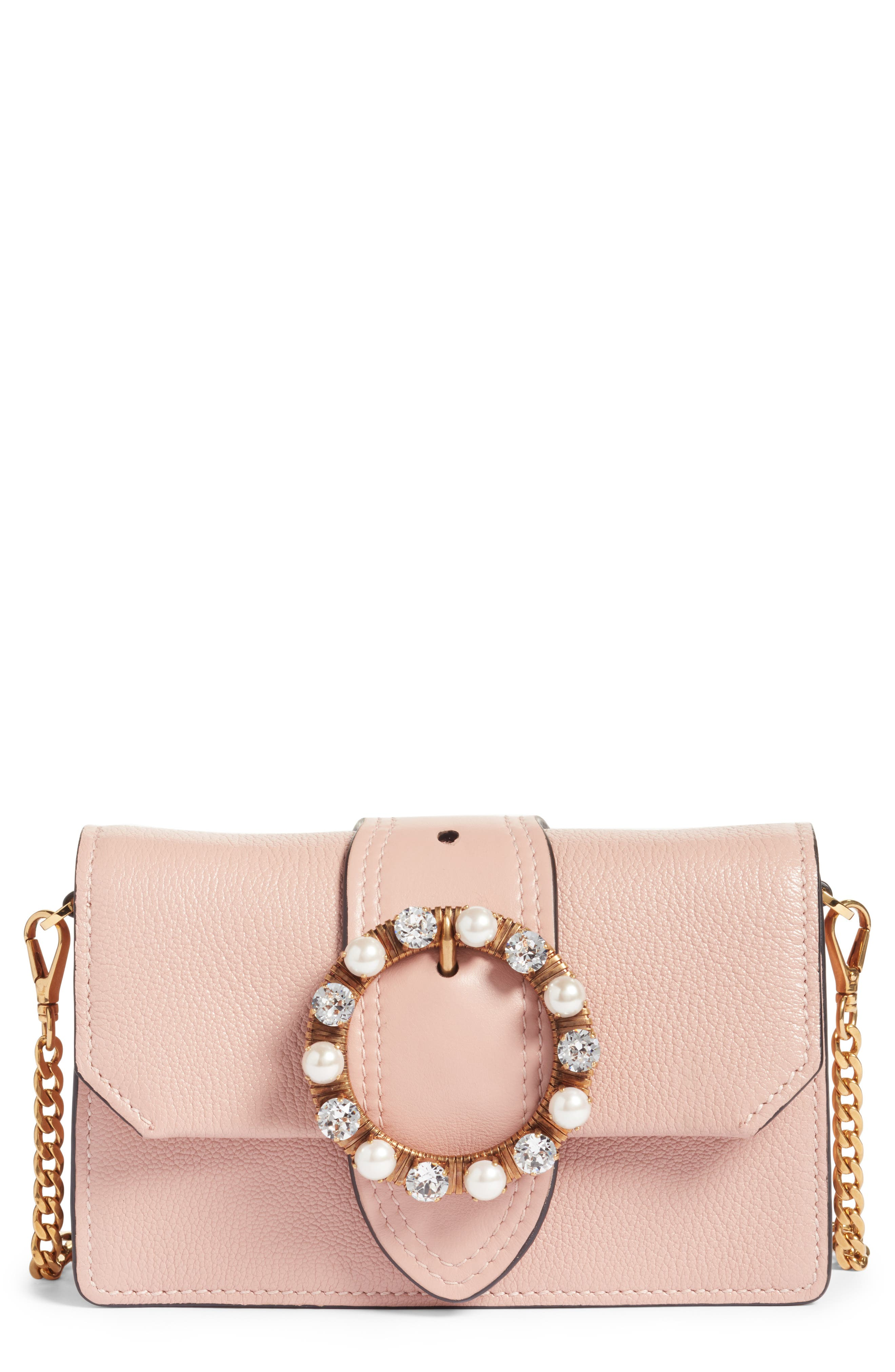 Miu Miu Lady Madras Crystal Embellished Leather Crossbody Bag