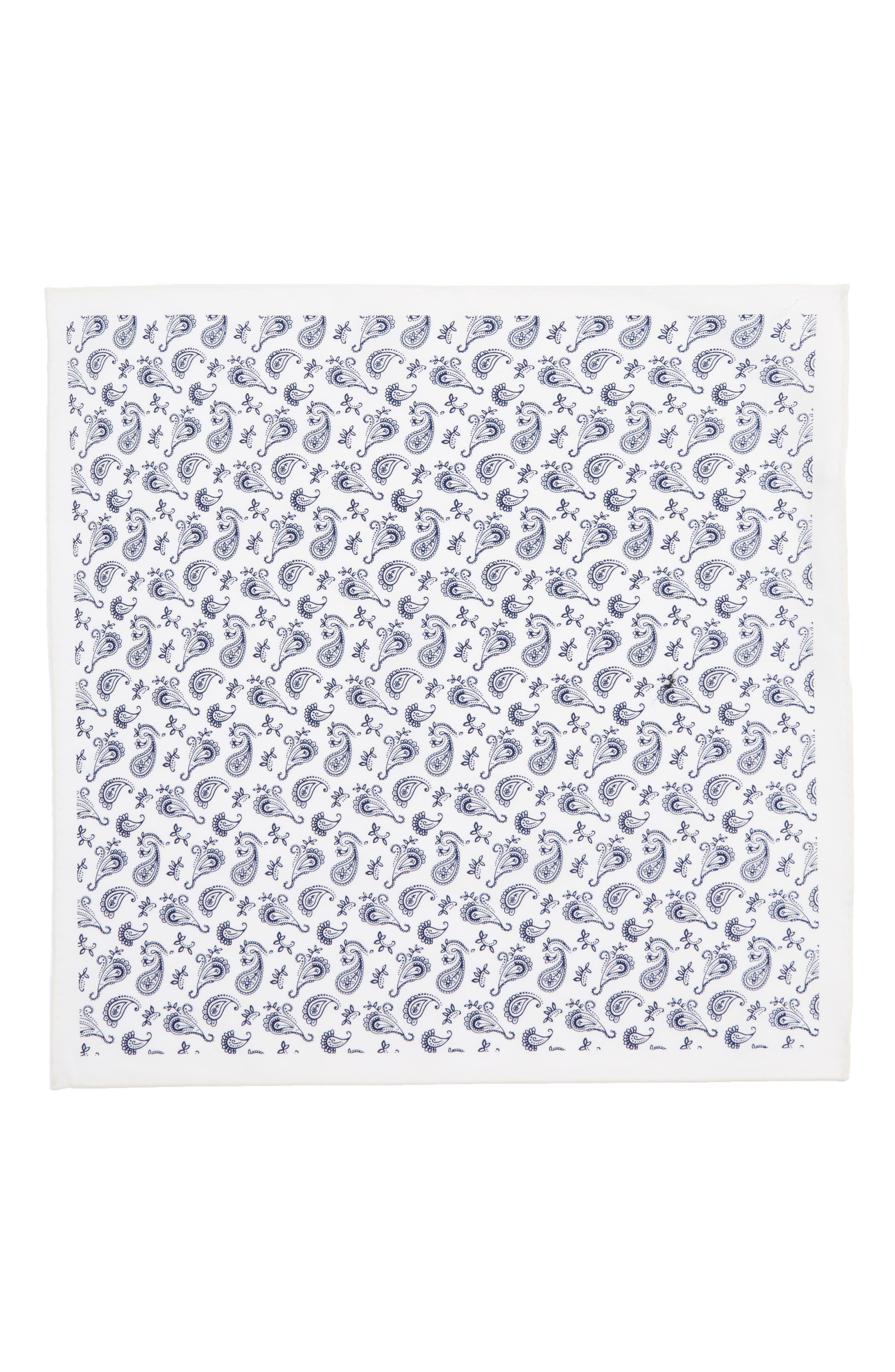 Peloso Paisley Cotton Pocket Square,                             Alternate thumbnail 2, color,                             Bright Navy