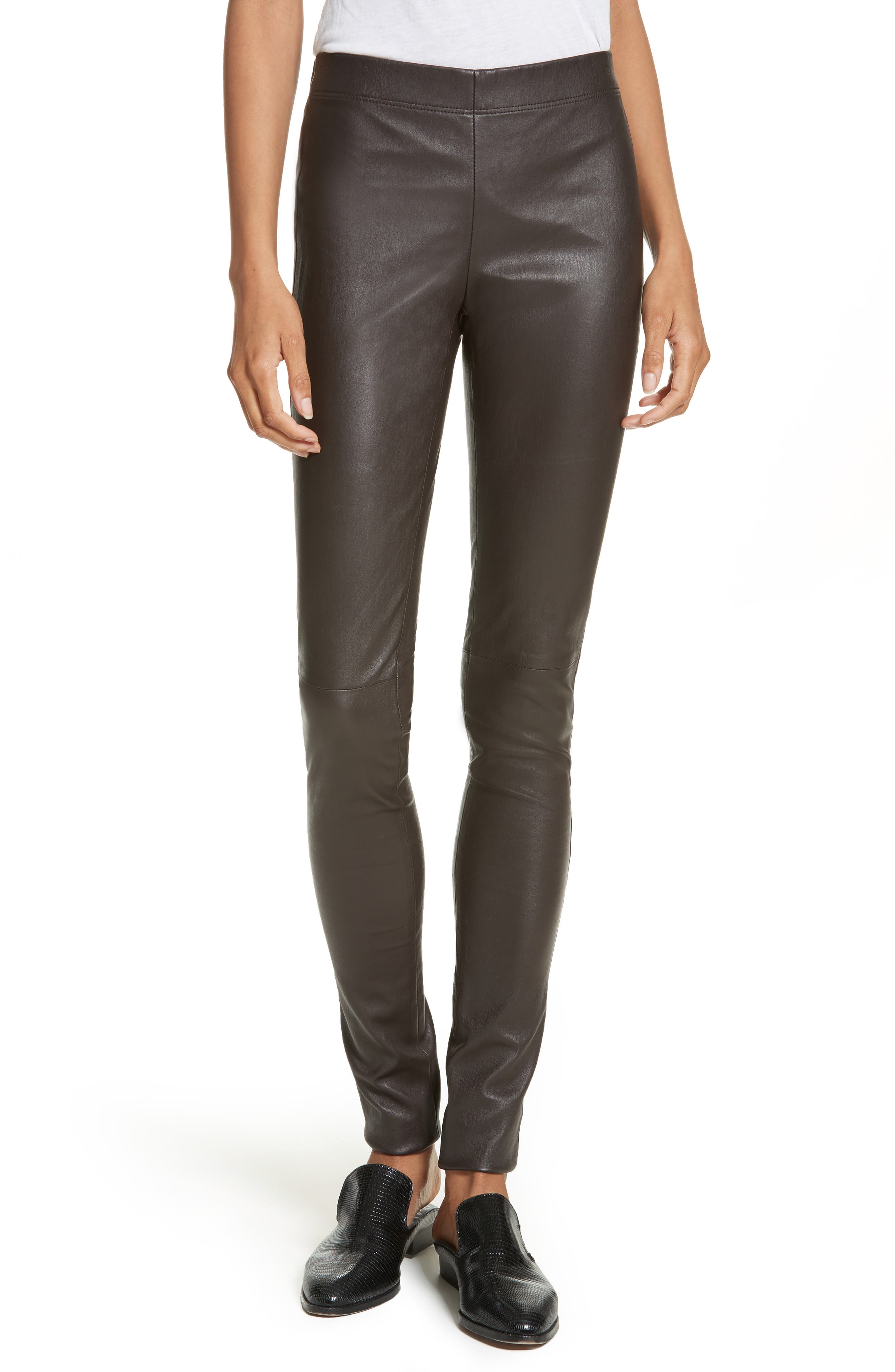 Stretch Leather Leggings,                             Main thumbnail 1, color,                             Brown