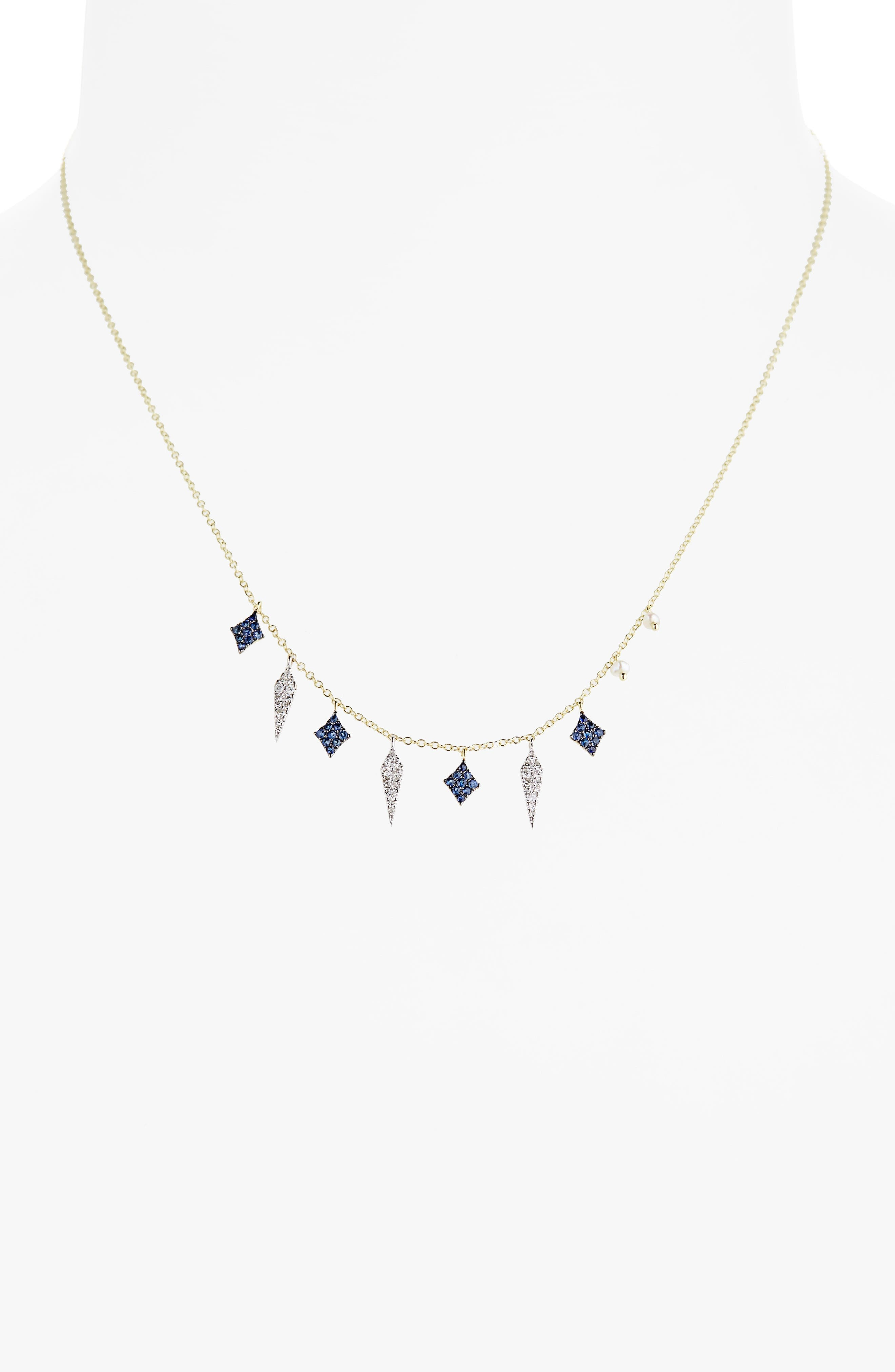 Miera T Diamond & Sapphire Charm Necklace,                             Main thumbnail 1, color,                             Yellow Gold