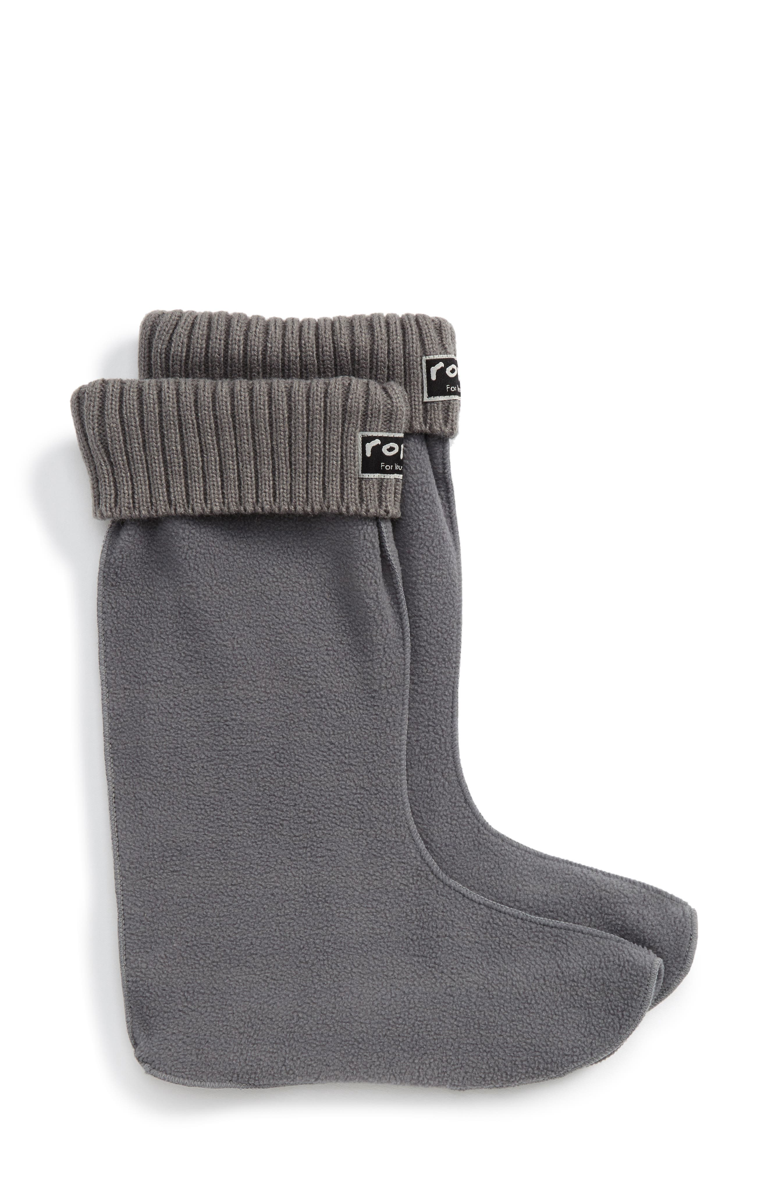 Knit Cuff Fleece Boot Socks,                             Alternate thumbnail 2, color,                             Grey