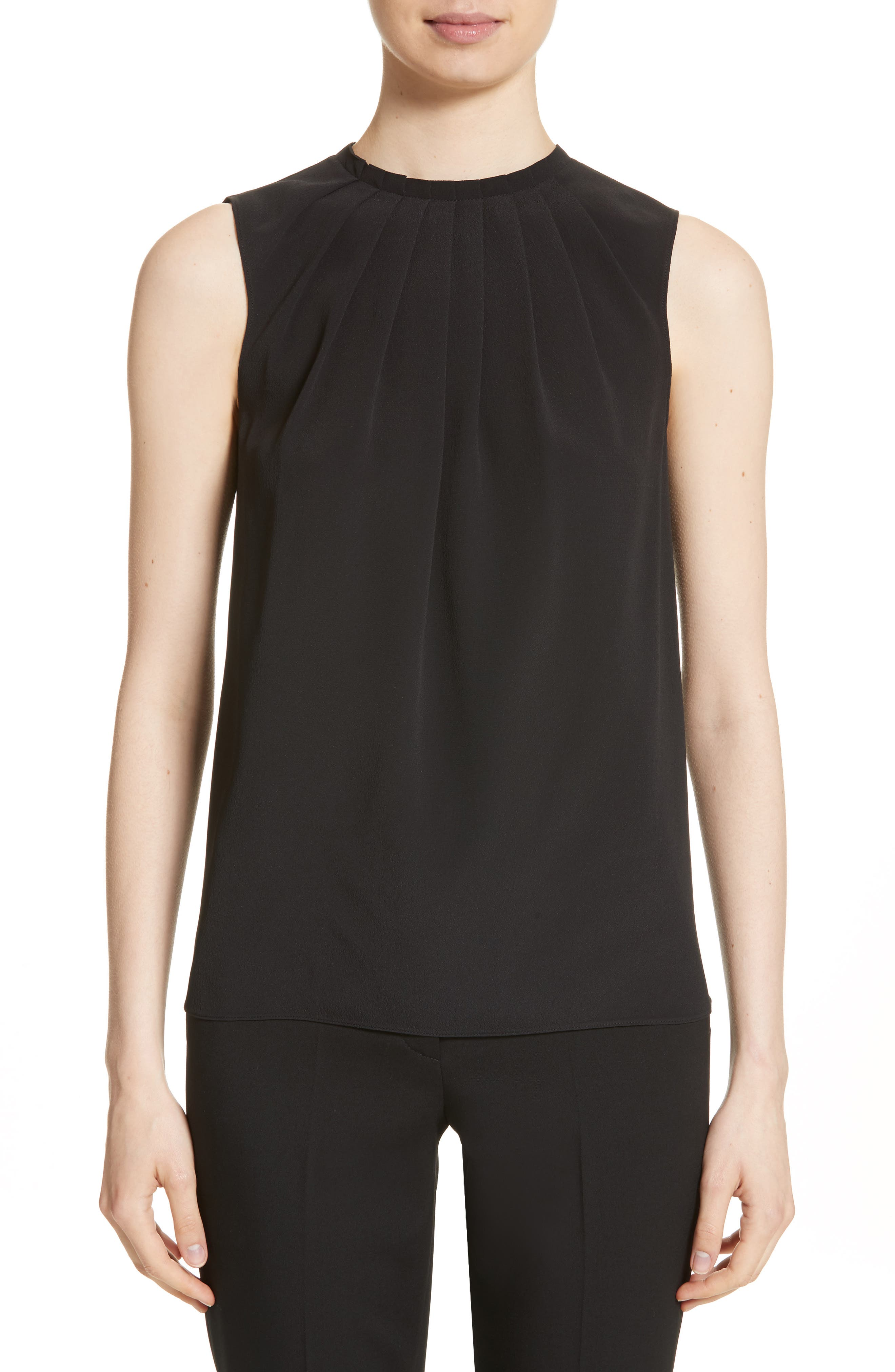 Tucked Neck Silk Blend Blouse,                         Main,                         color, Black