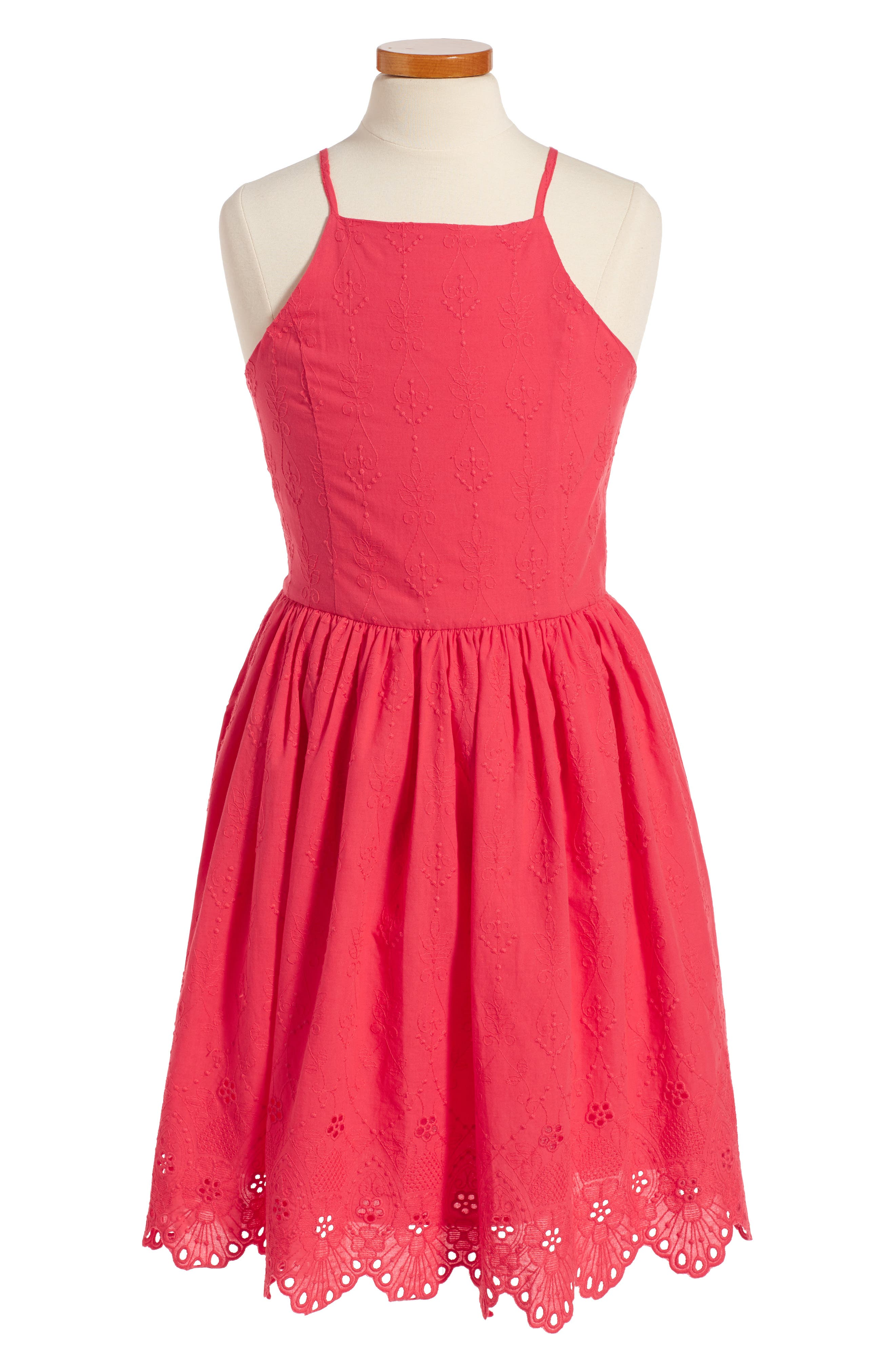 Main Image - Ruby & Bloom Embroidered Dress (Big Girls)