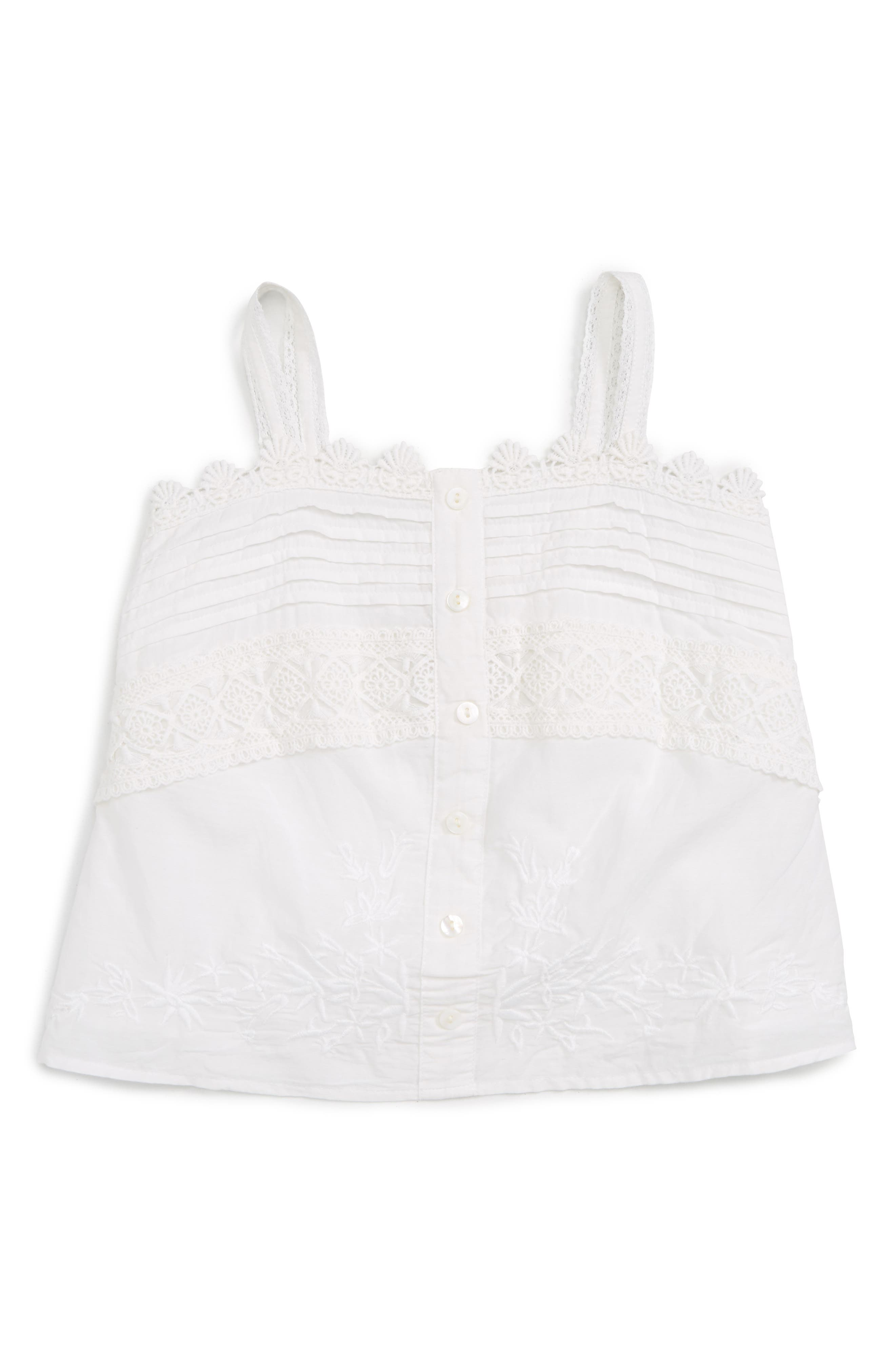 Embroidered Button Front Tank,                         Main,                         color, White