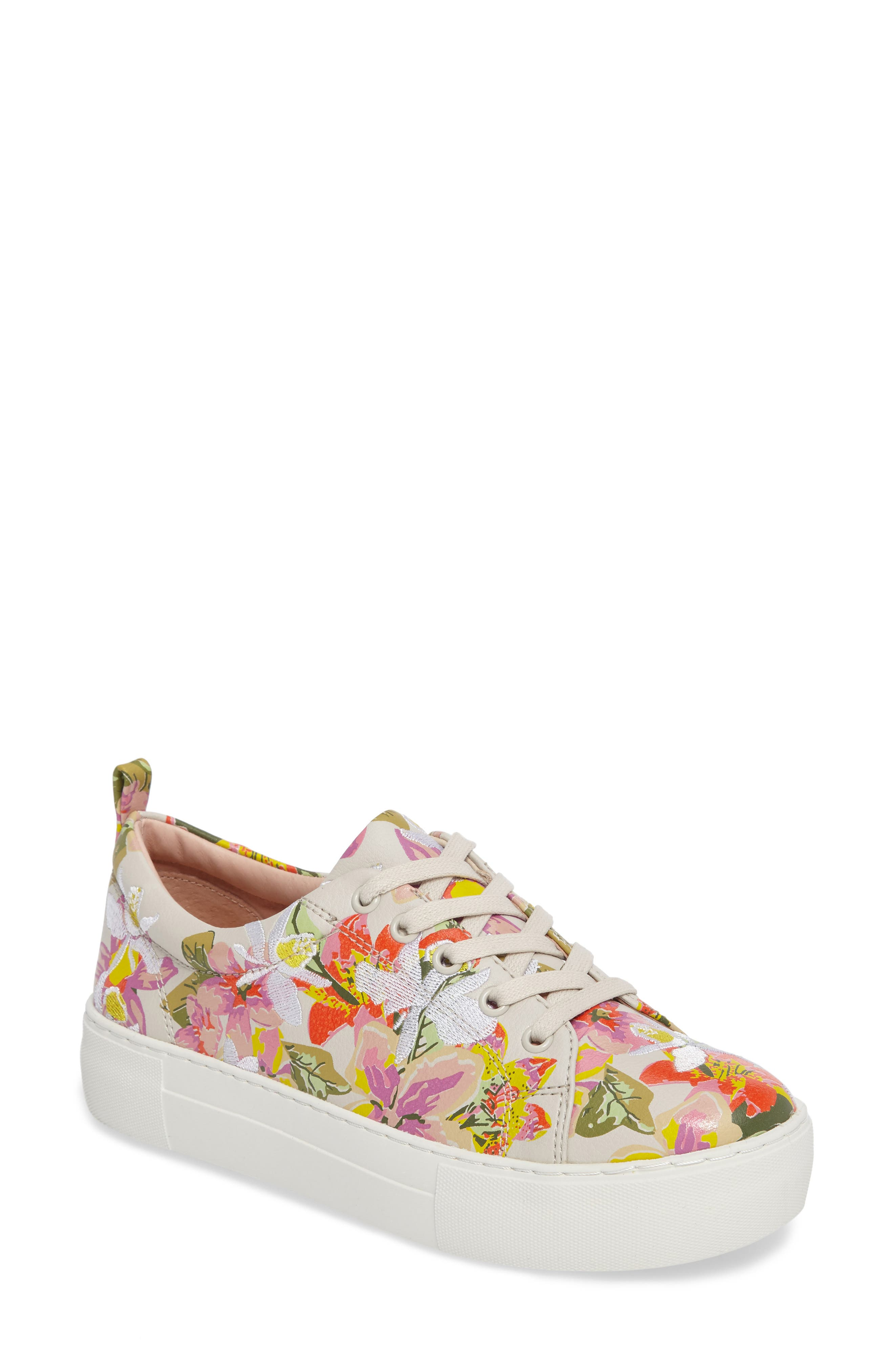 Appy Embroidered Platform Sneaker,                             Main thumbnail 1, color,                             Pink Multi Fabric