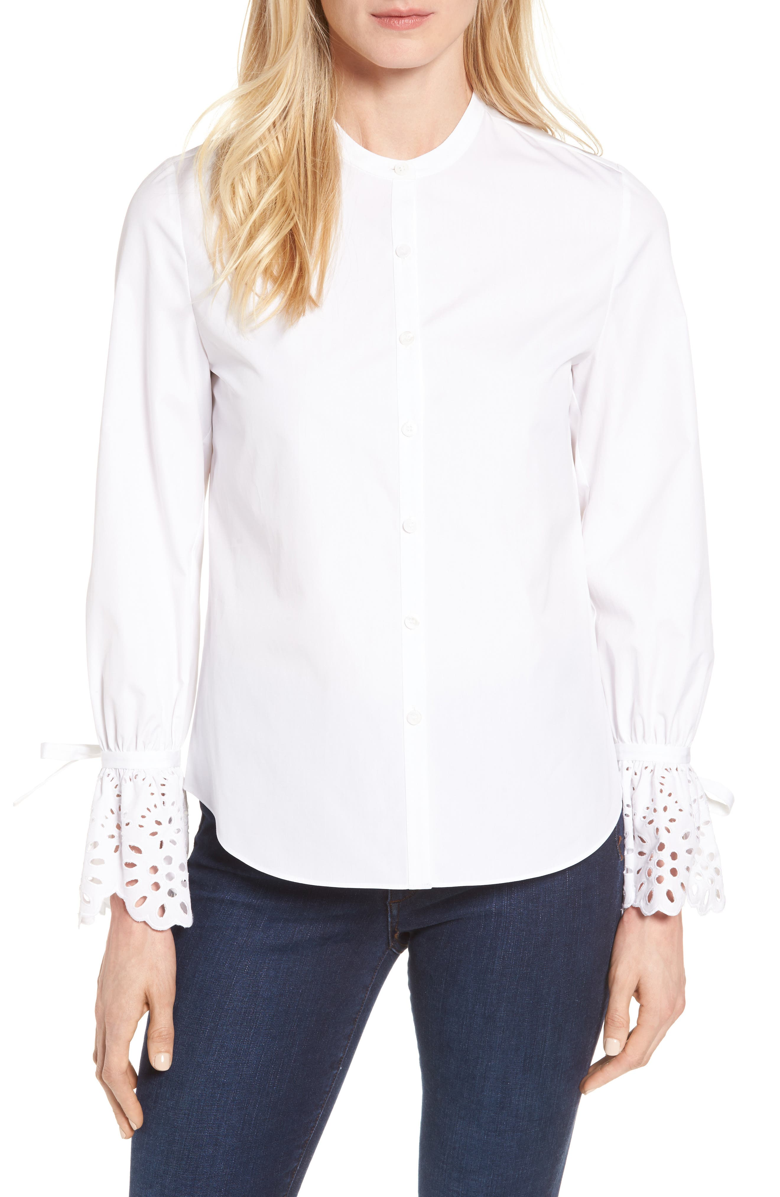 Alternate Image 1 Selected - Nordstrom Signature Eyelet Cuff Poplin Blouse