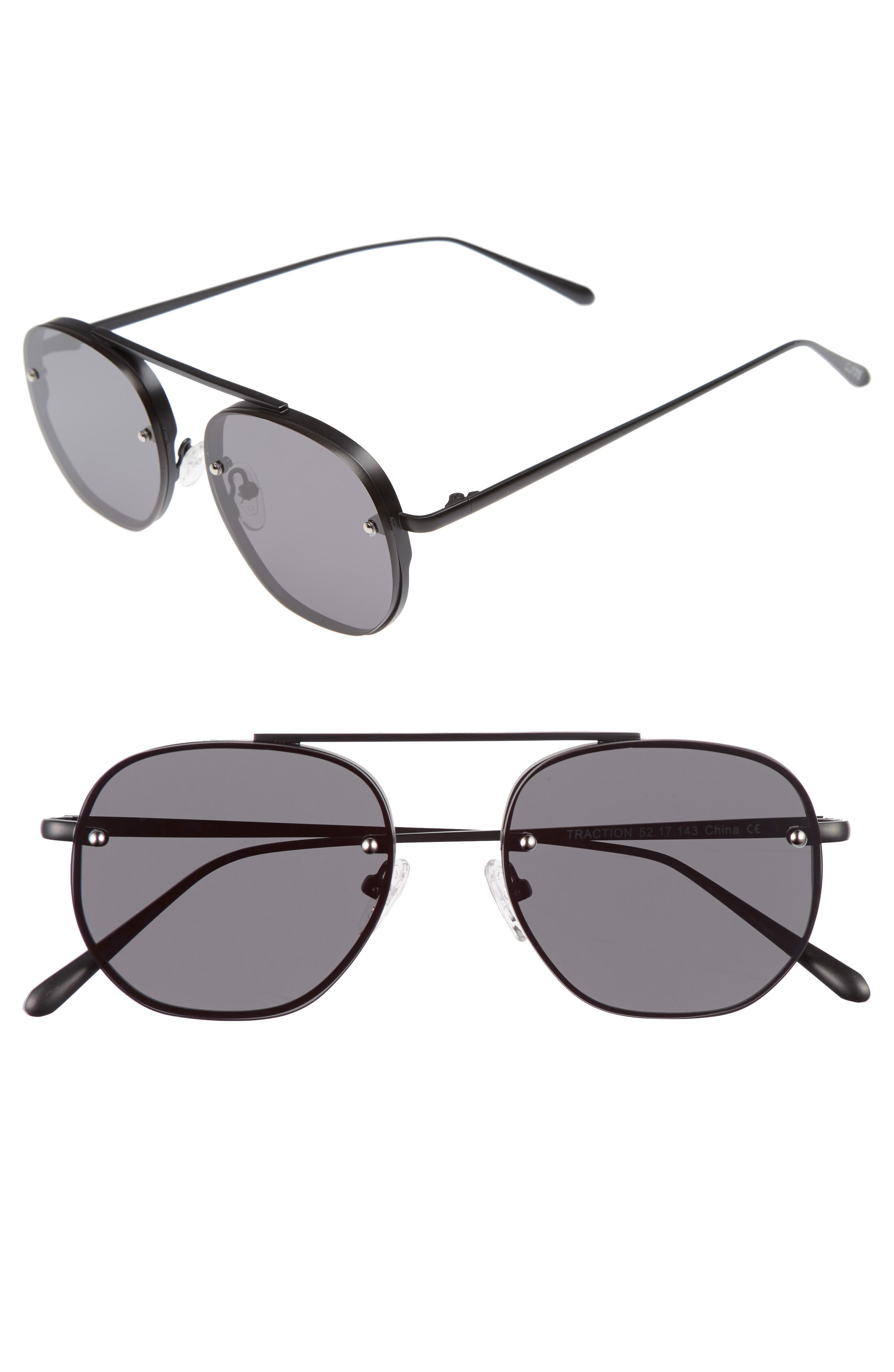 Traction 52mm Aviator Sunglasses,                             Main thumbnail 1, color,                             Gravity Black
