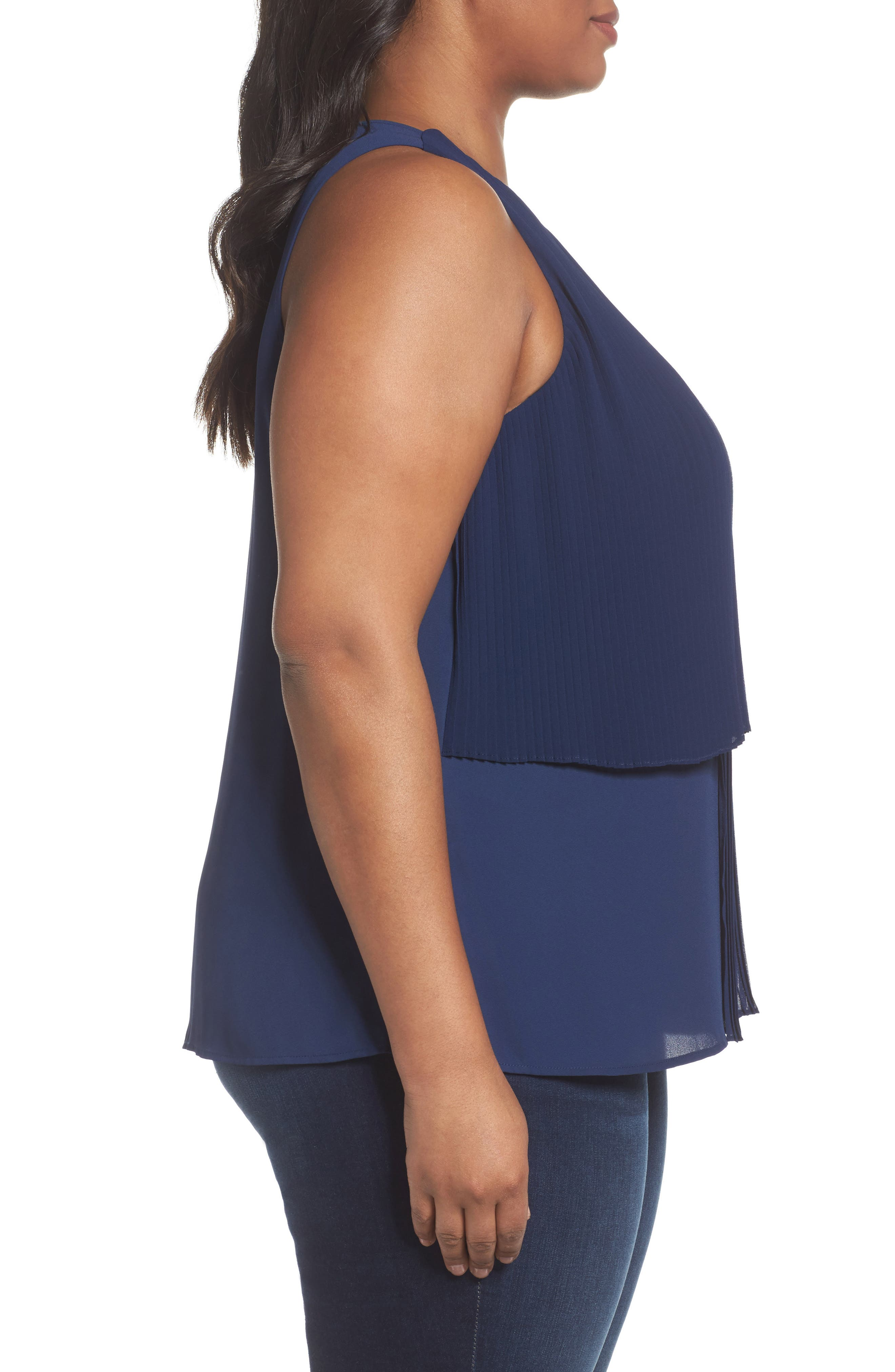 Asymmetrical Pleat Front Shell,                             Alternate thumbnail 4, color,                             Navy Medieval