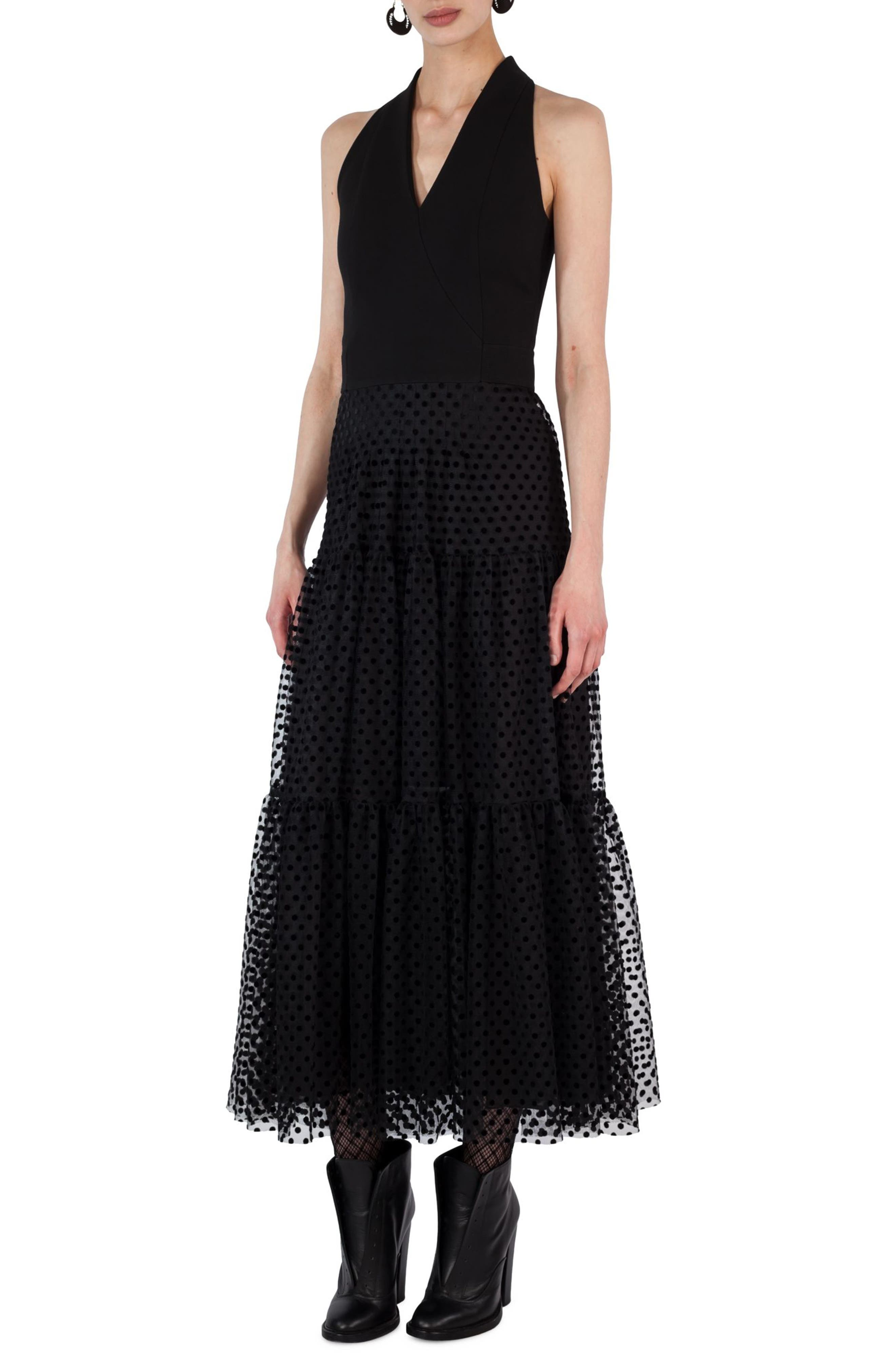 AKRIS PUNTO Polka Dot Tulle Velvet Maxi Dress