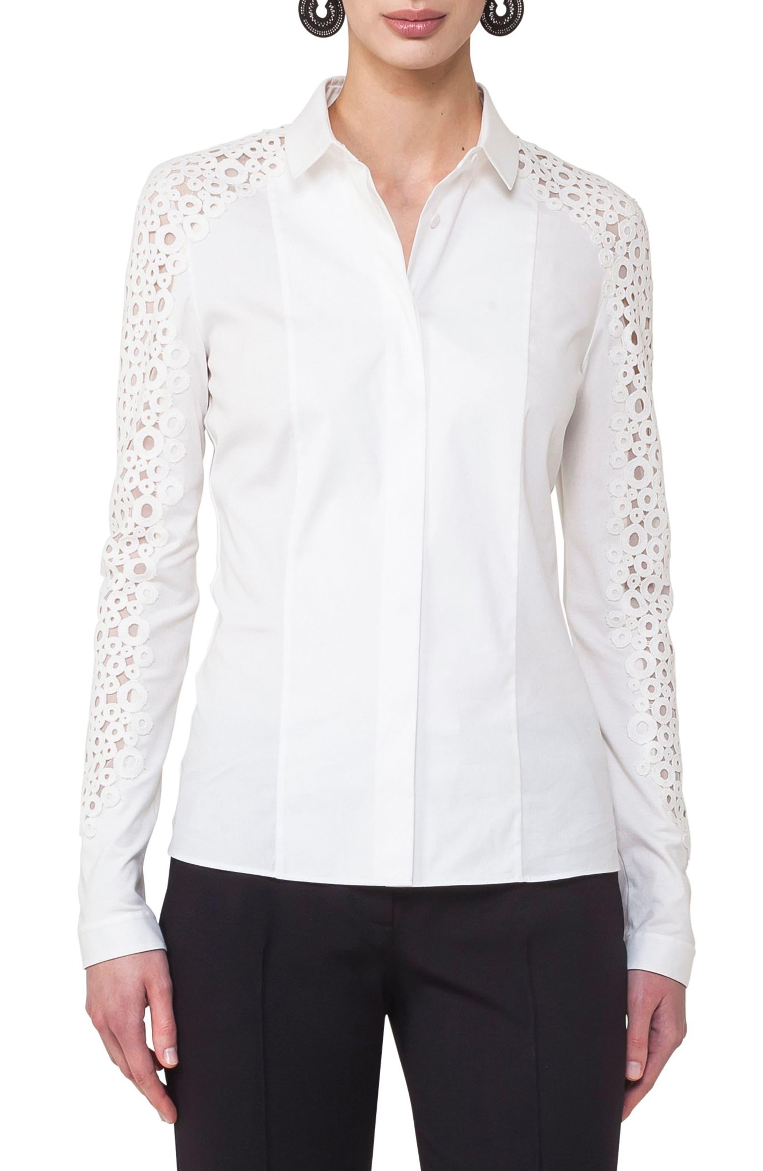 Lace Inset Cotton Blend Blouse,                         Main,                         color, Cream