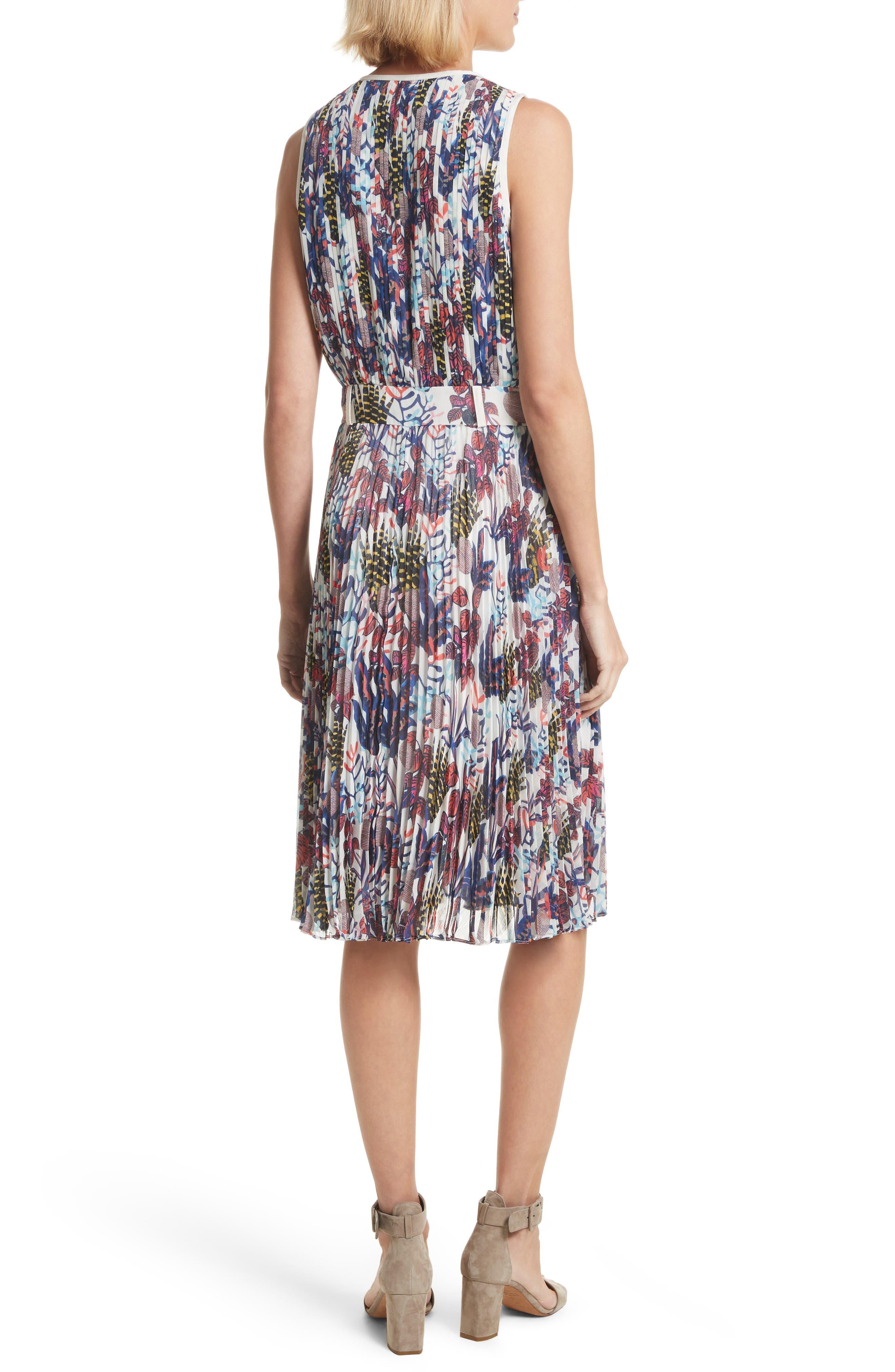 Print Pleated Chiffon Dress,                             Alternate thumbnail 2, color,                             Cream Multi