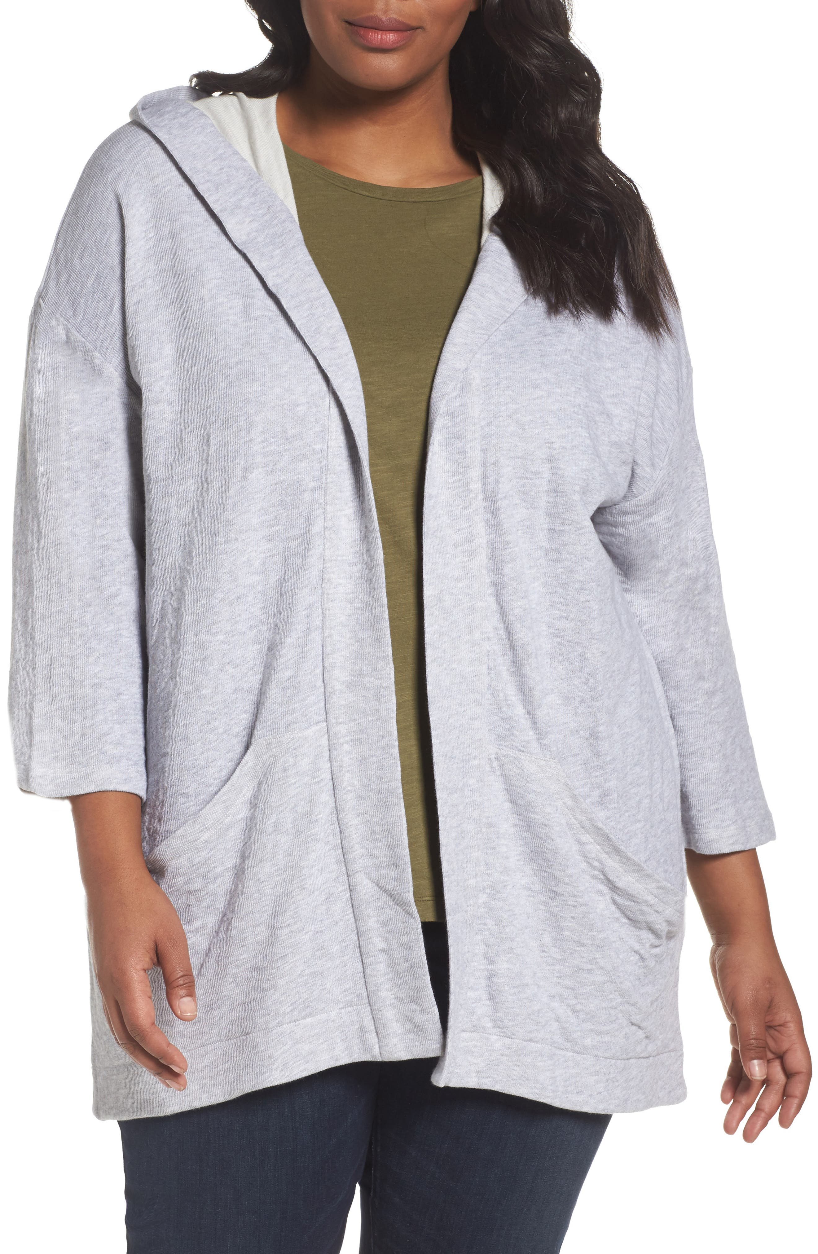 Main Image - Eileen Fisher Organic Cotton Knit Hooded Jacket (Plus Size)