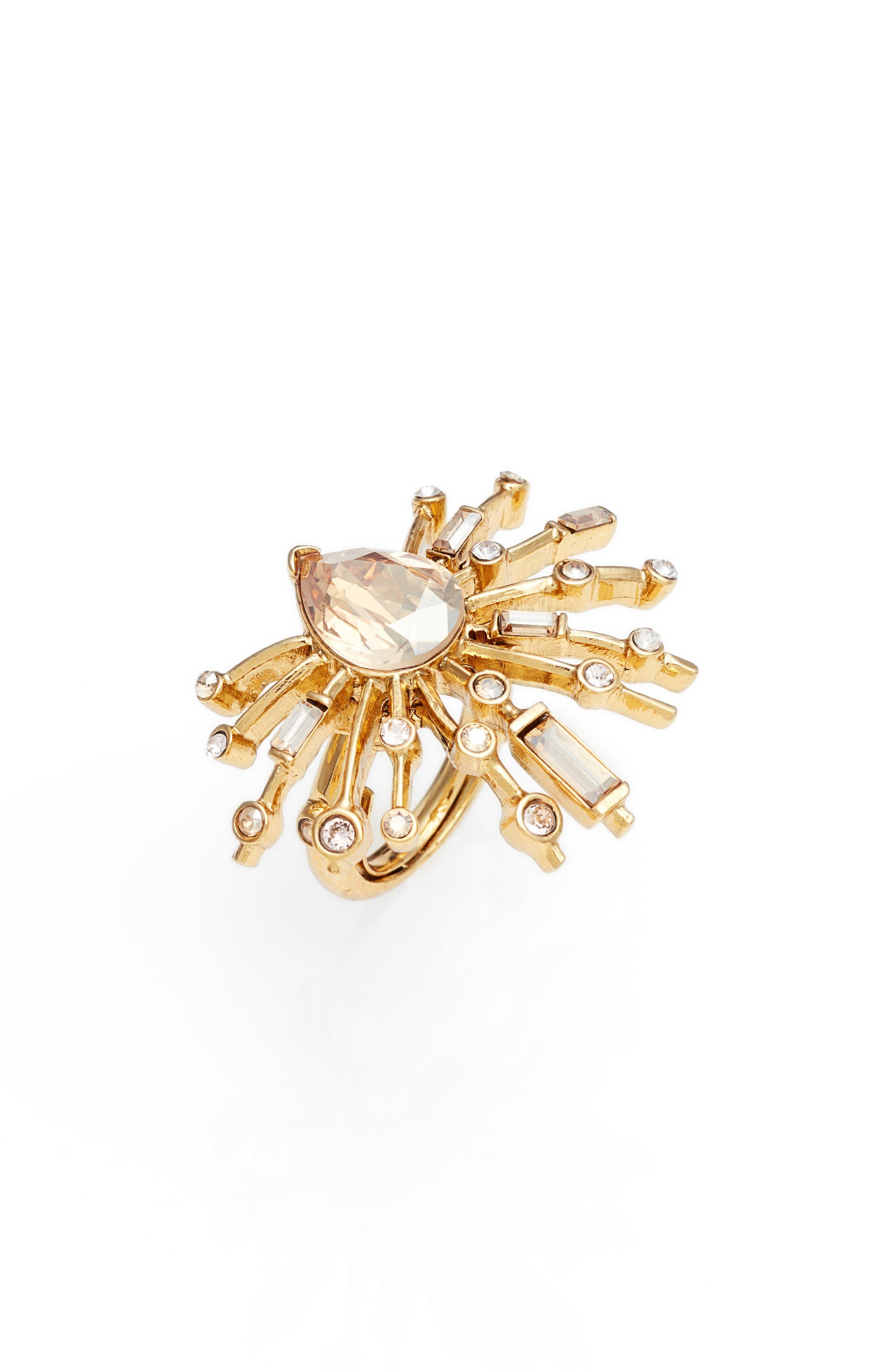 Radial Crystal Ring,                             Main thumbnail 1, color,                             Crystal Gold Shadow