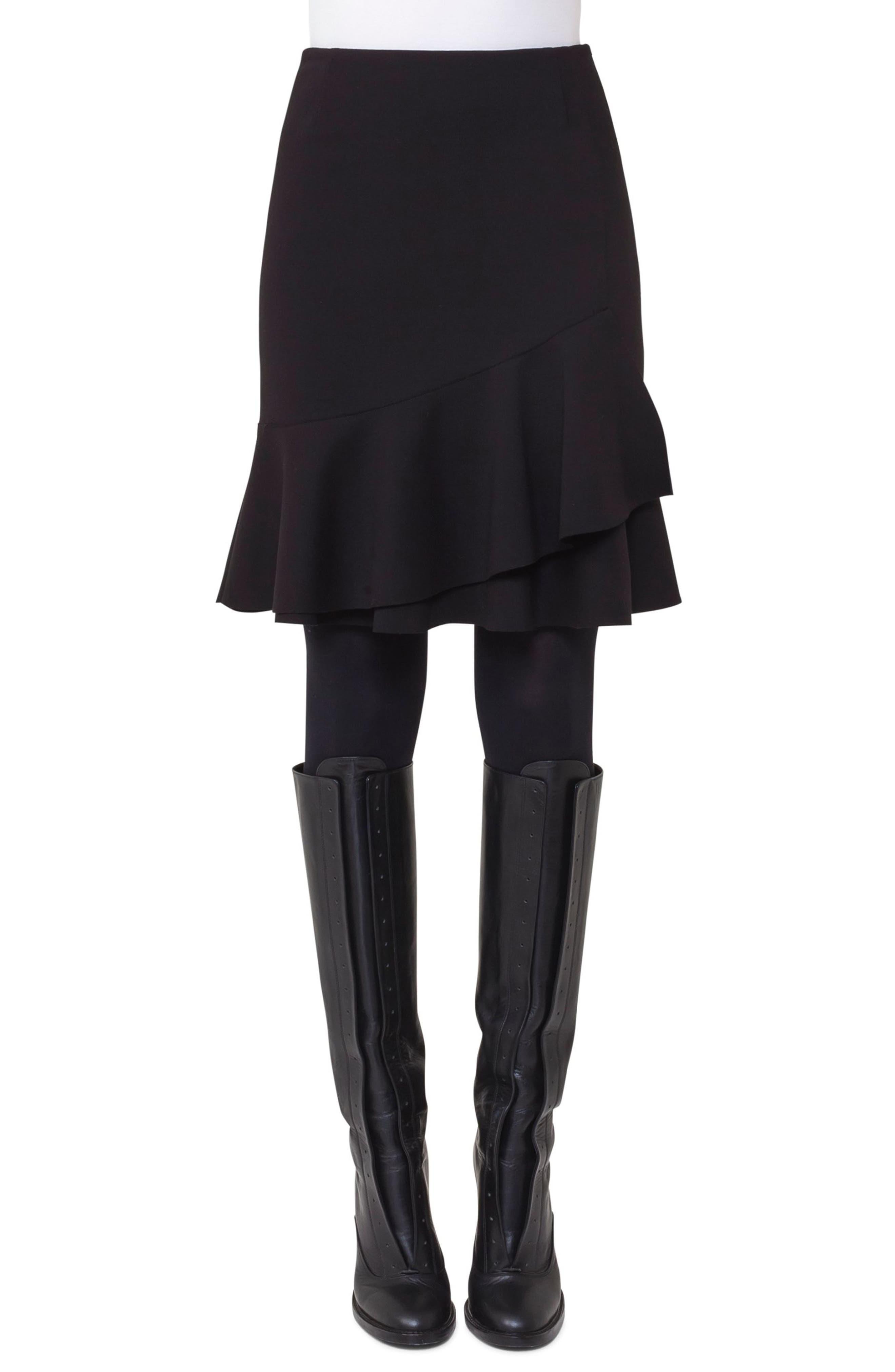Ruffle Hem Skirt,                         Main,                         color, Black