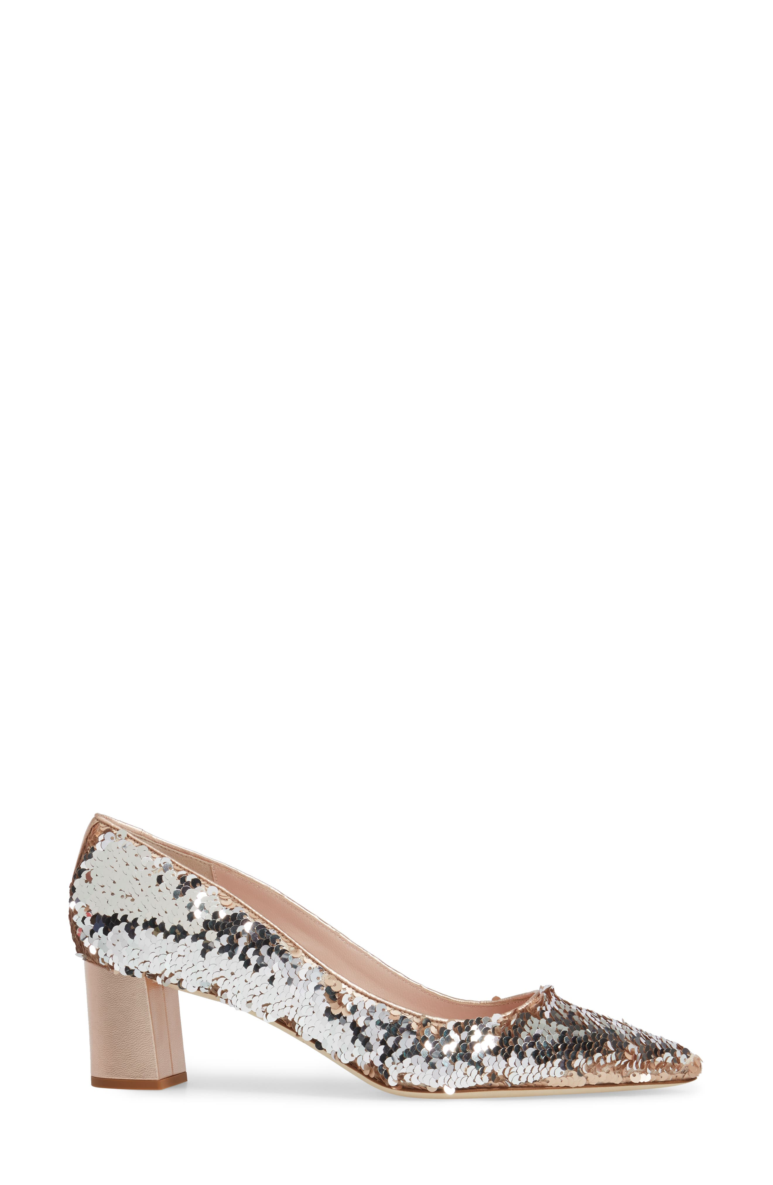 mauna sequin pump,                             Alternate thumbnail 3, color,                             Rose Gold/ Silver