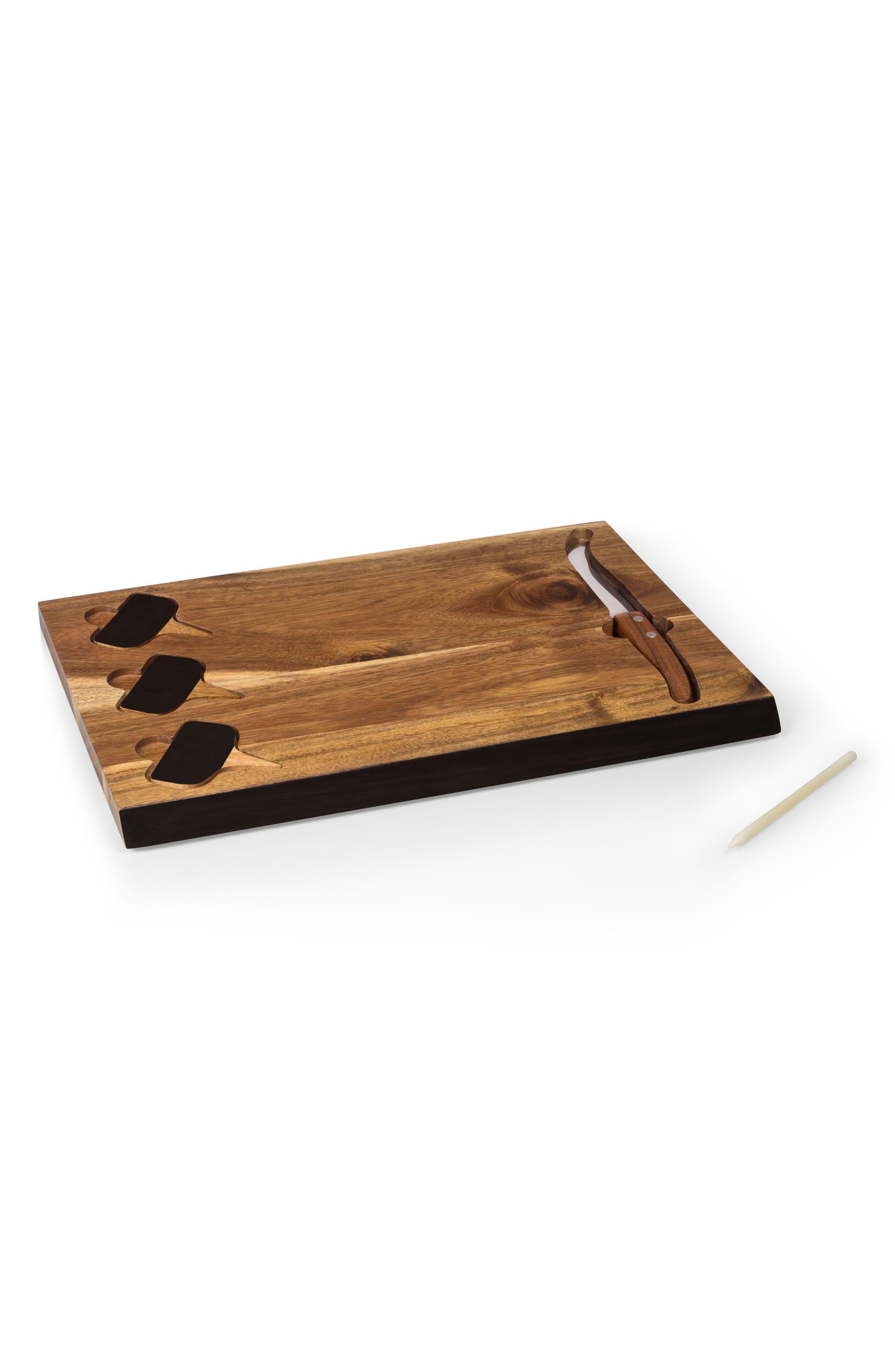 Picnic Time Delio Acacia Chalkboard Cheese Board & Tools Set