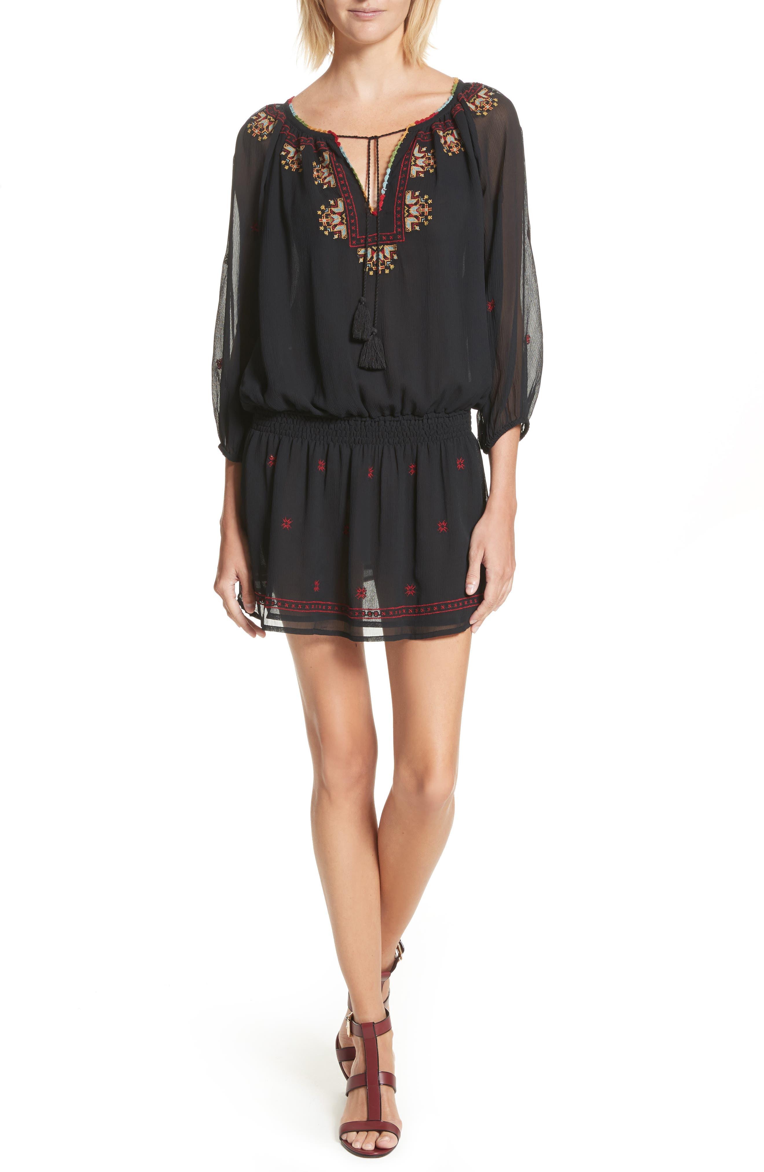 Geromine Blouson Silk Dress,                         Main,                         color, Caviar
