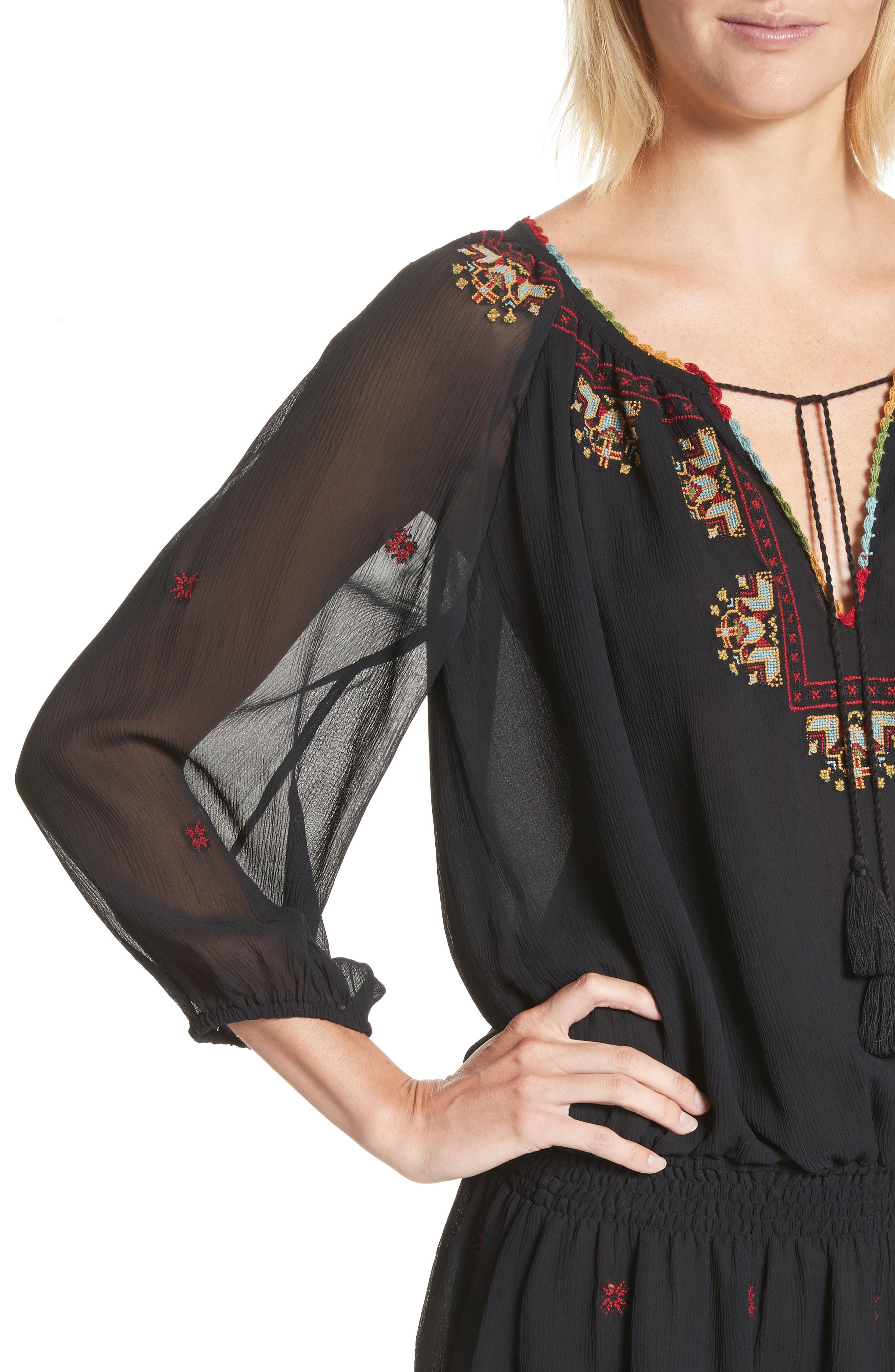 Geromine Blouson Silk Dress,                             Alternate thumbnail 4, color,                             Caviar
