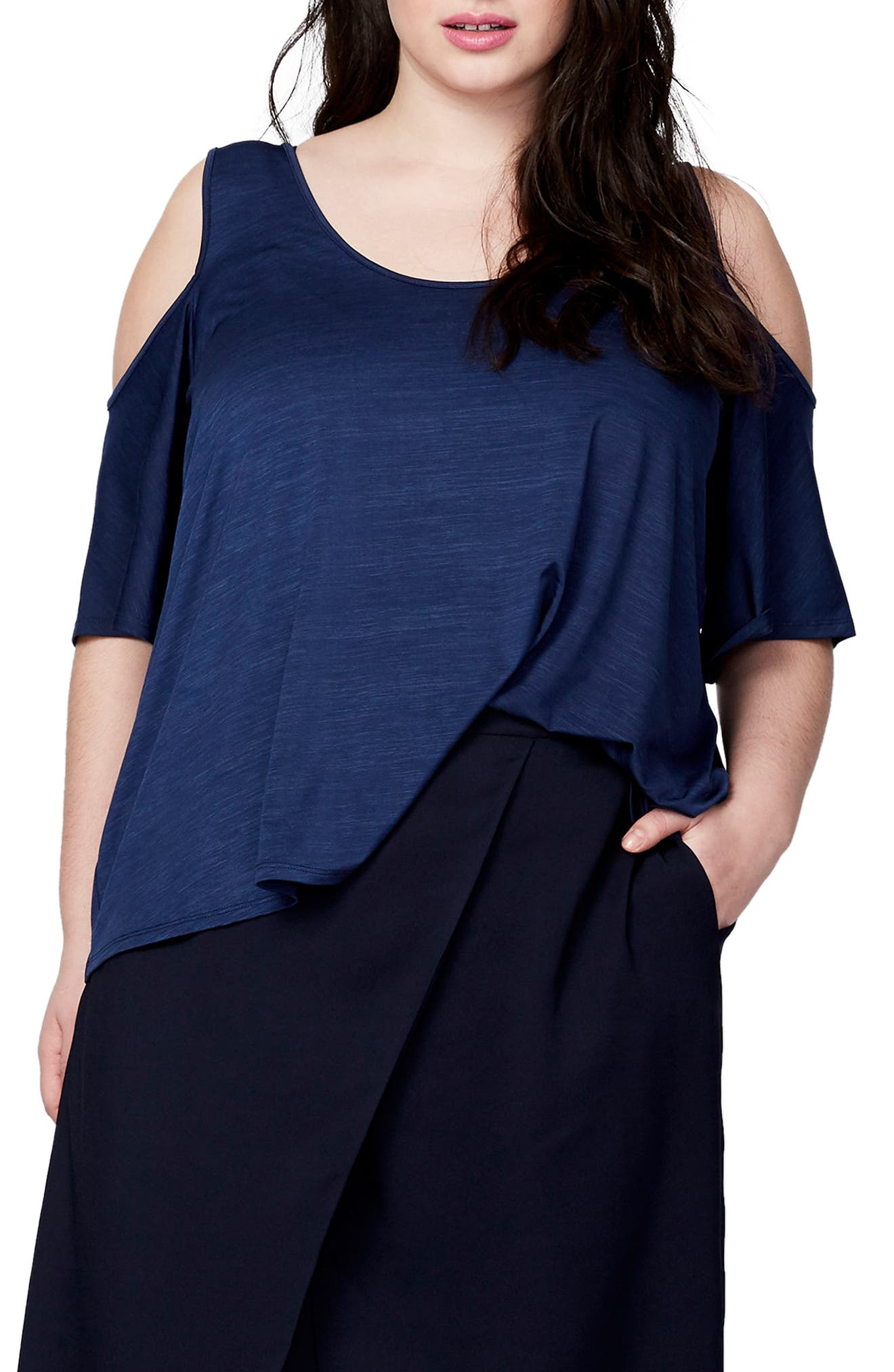 Cold Shoulder Bell Sleeve Top,                         Main,                         color, Navy