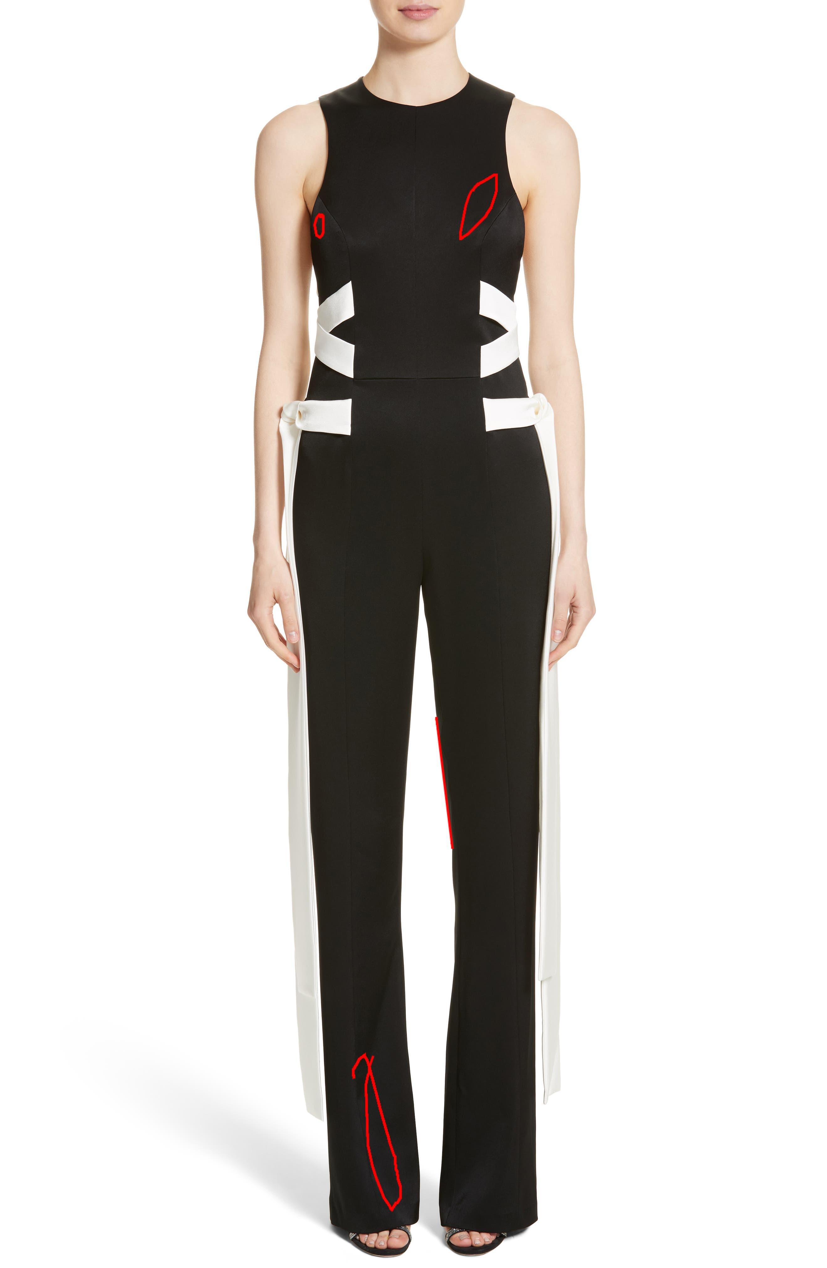 Lace Up Satin Crepe Jumpsuit,                             Main thumbnail 1, color,                             Black W/ White Lacings