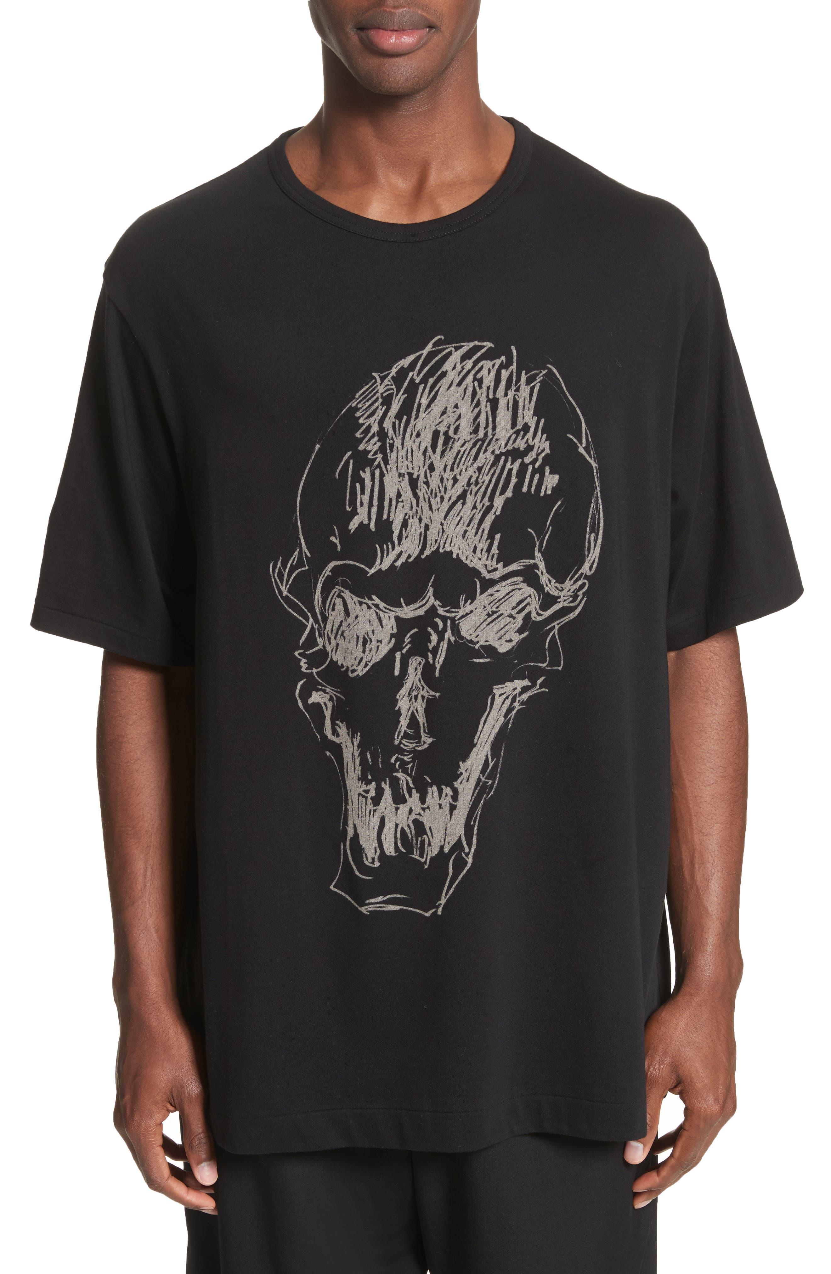 Oversize Skull Graphic T-Shirt,                         Main,                         color, Black