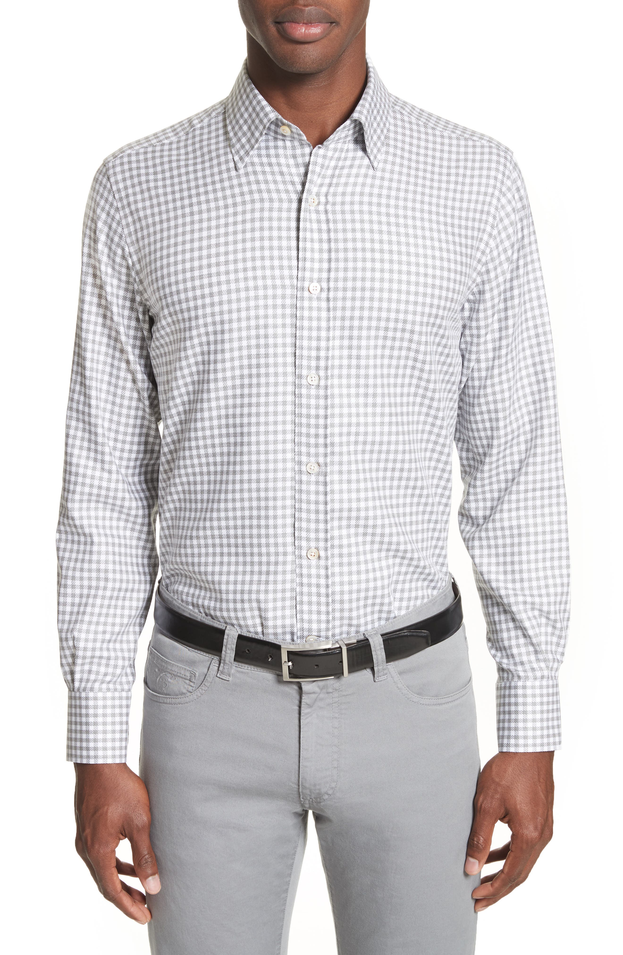 Shepherds Check Sport Shirt,                             Main thumbnail 1, color,                             Light Grey
