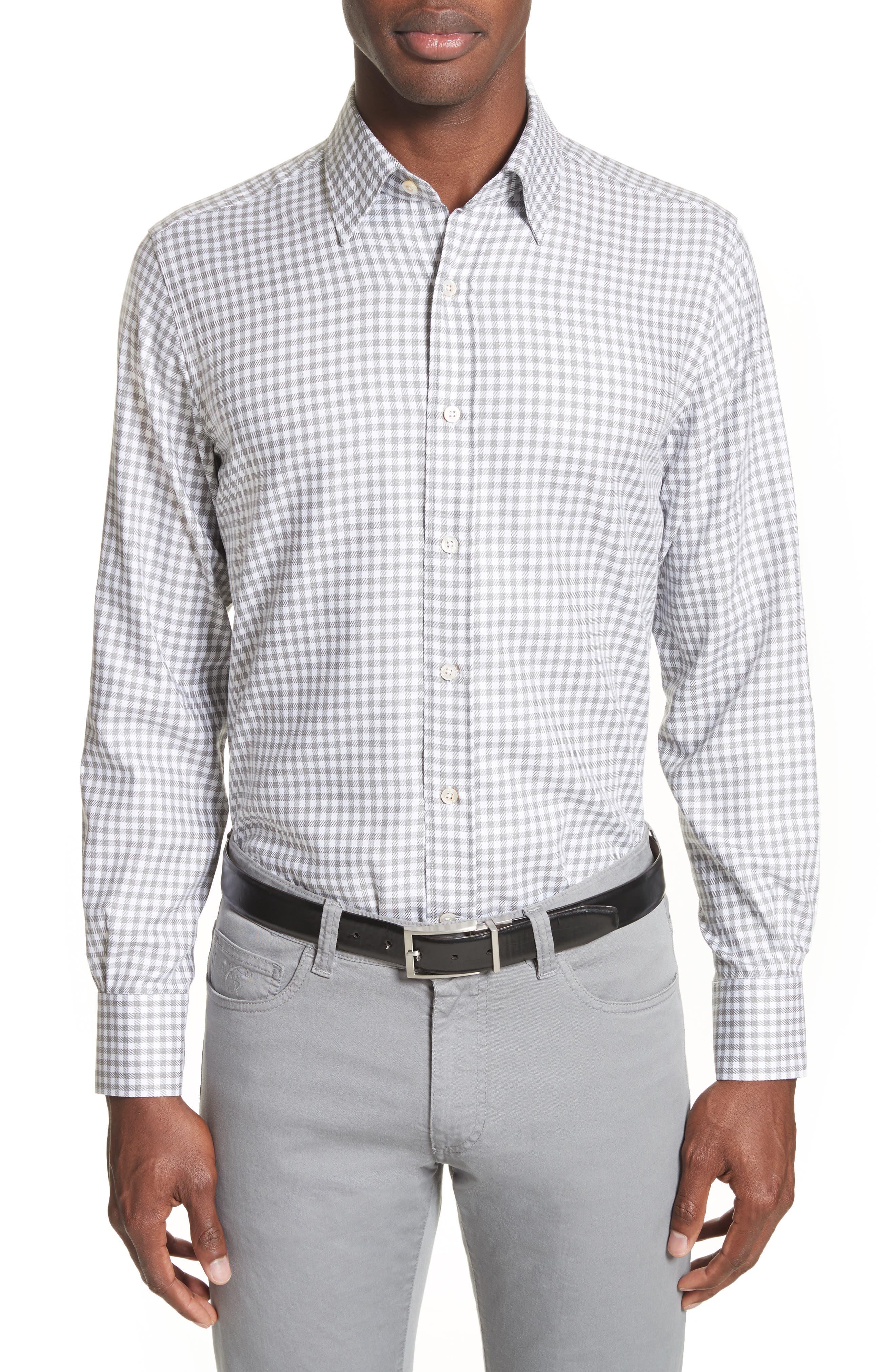 Shepherds Check Sport Shirt,                         Main,                         color, Light Grey
