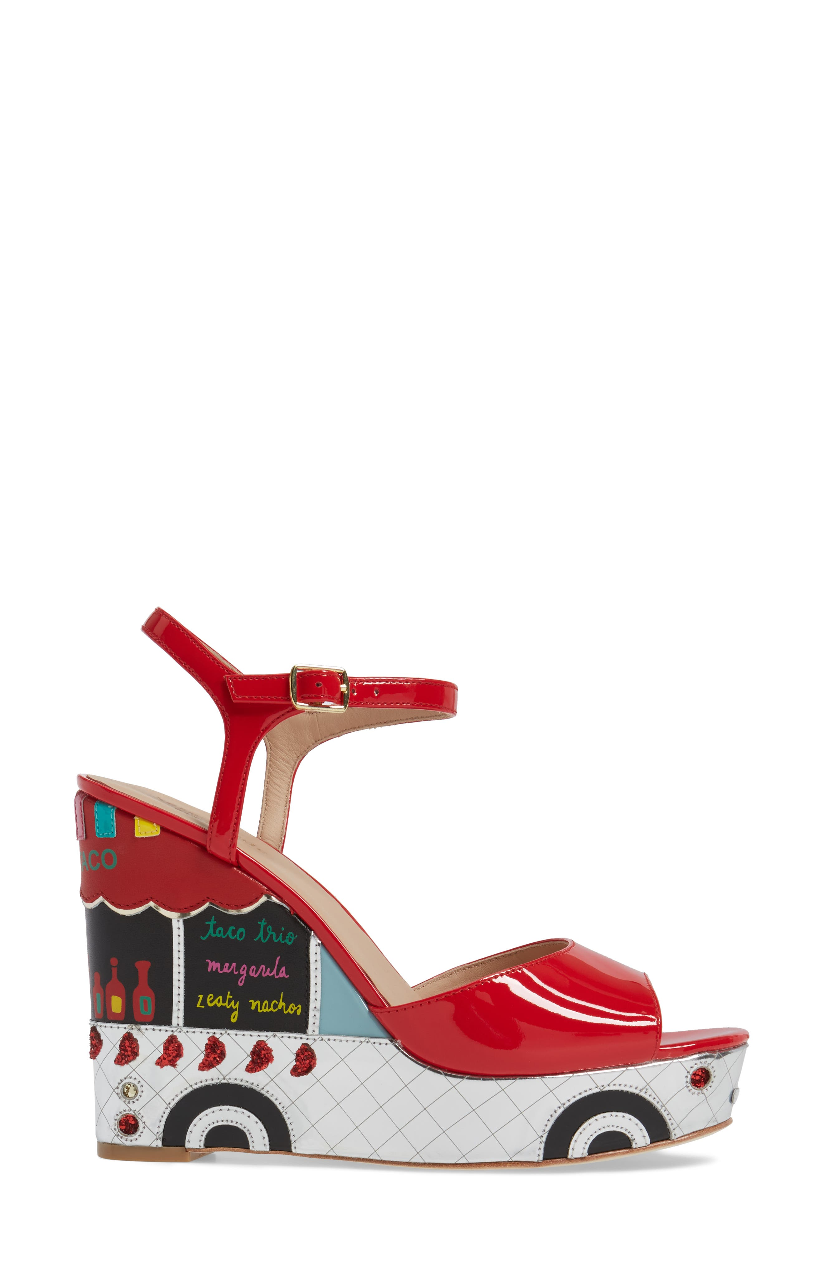 dora wedge sandal,                             Alternate thumbnail 3, color,                             Maraschino Red Patent