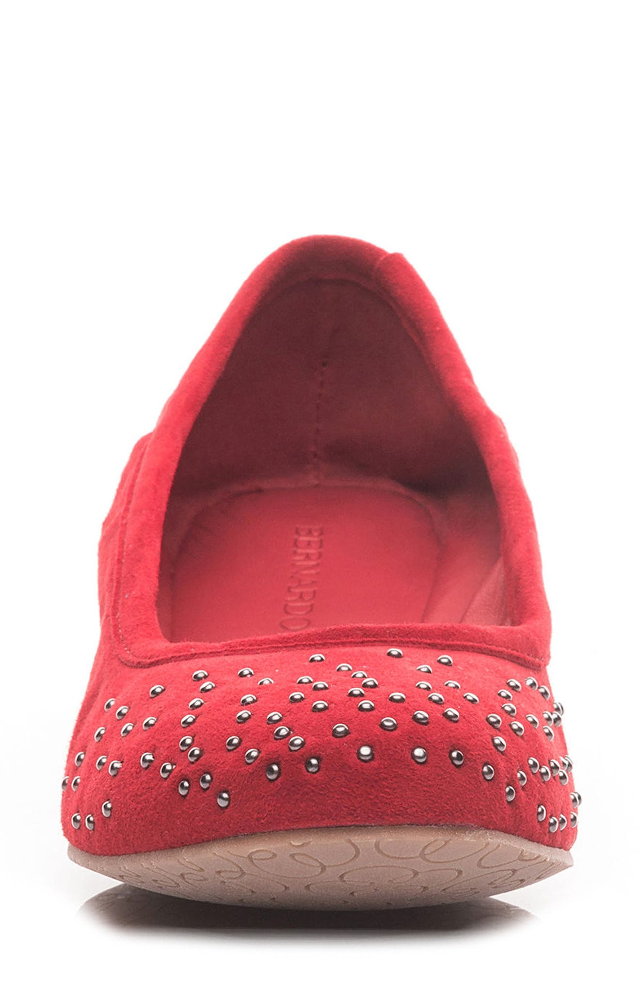 Dallas Studded Flat,                             Alternate thumbnail 4, color,                             Red Suede