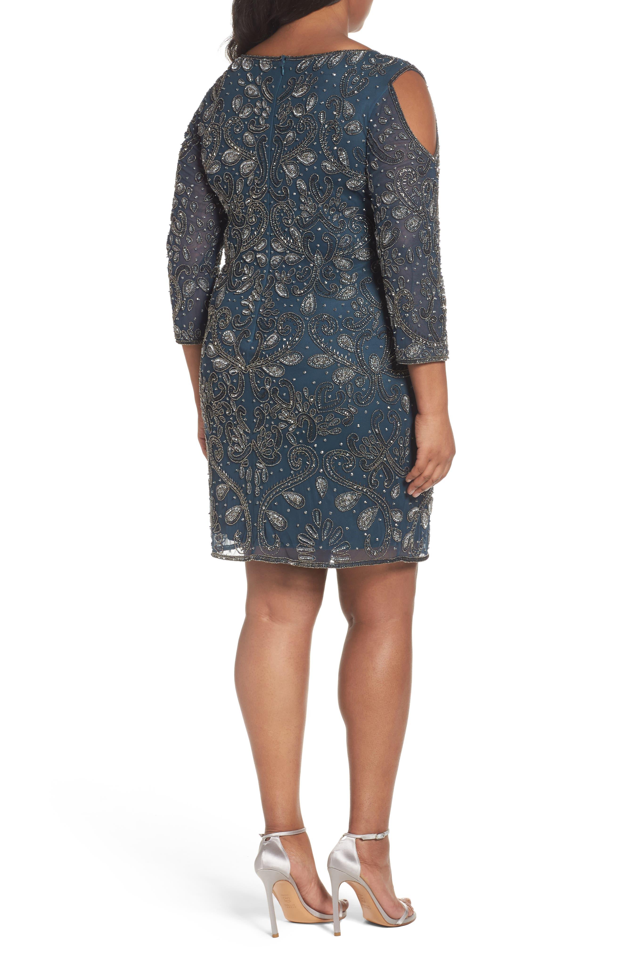 Alternate Image 2  - Pisarro Nights Embellished Cold Shoulder Dress (Plus Size)